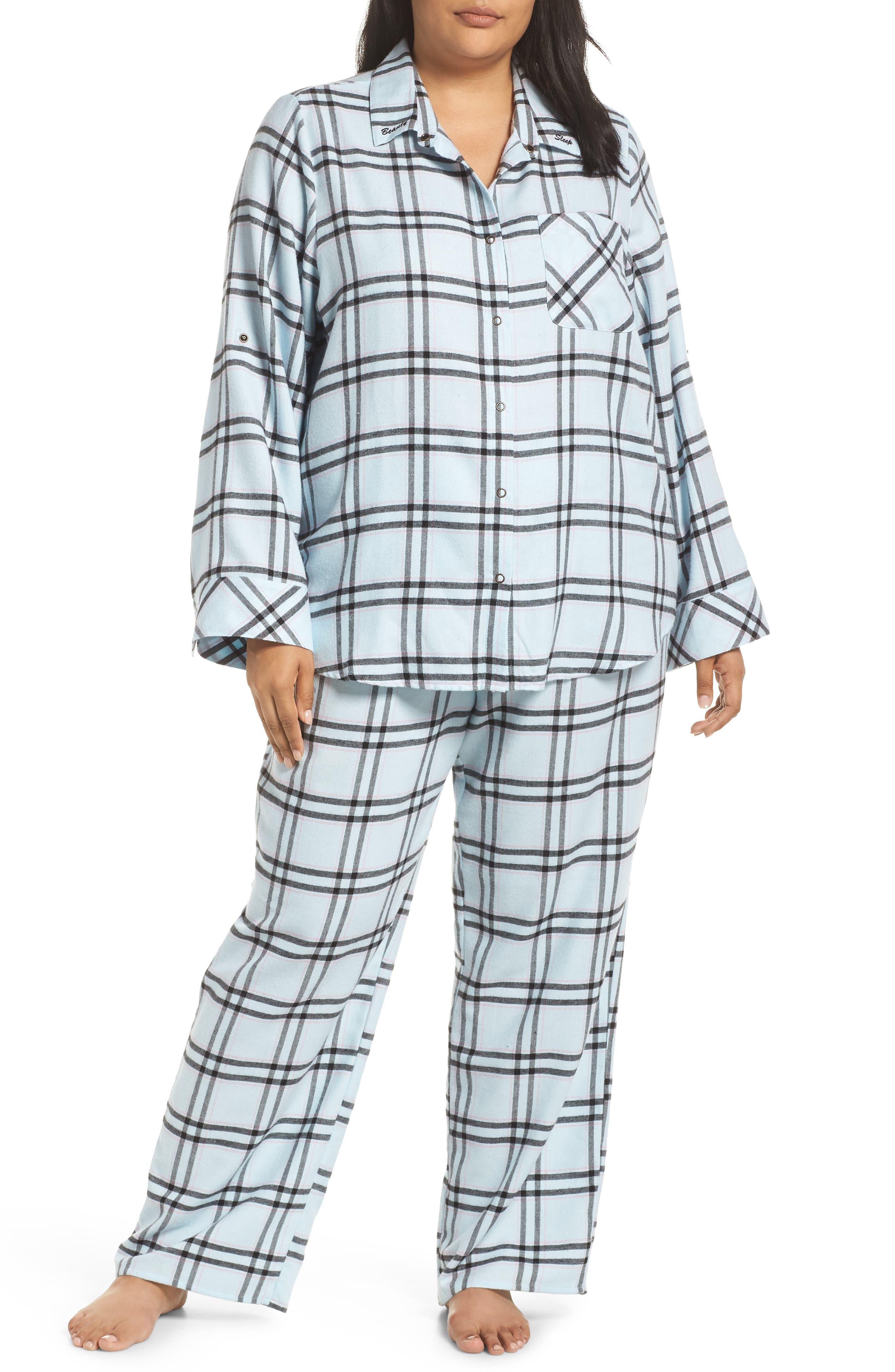 Plus Size Make + Model Flannel Pajamas, Blue