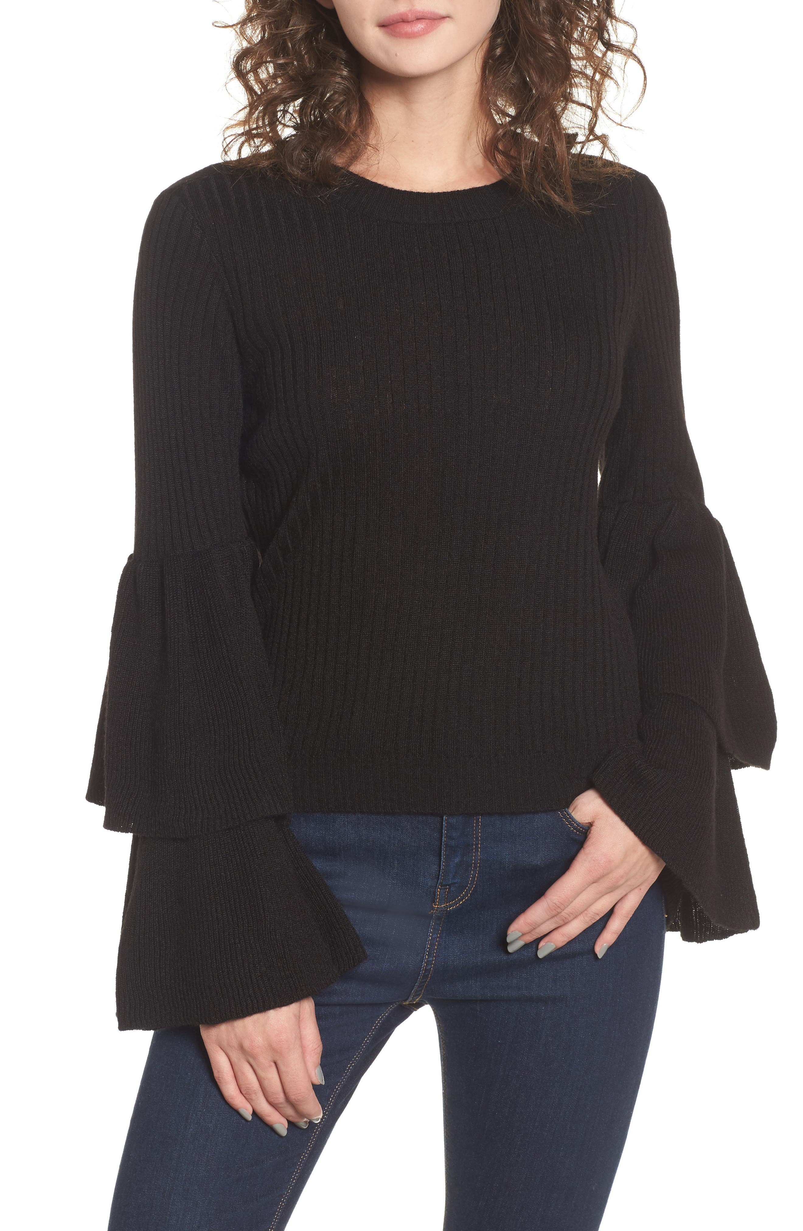Tiara Bell Sleeve Sweater,                         Main,                         color, 001