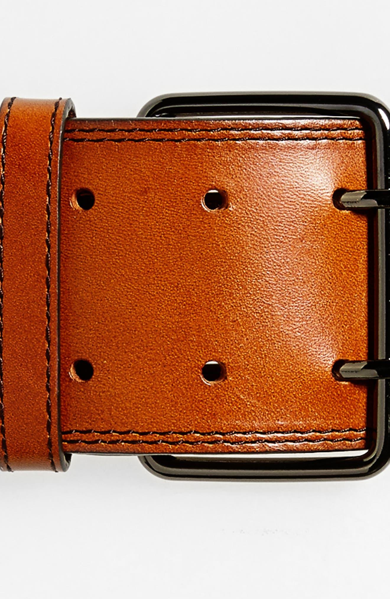 Wide Leather Belt,                             Alternate thumbnail 3, color,
