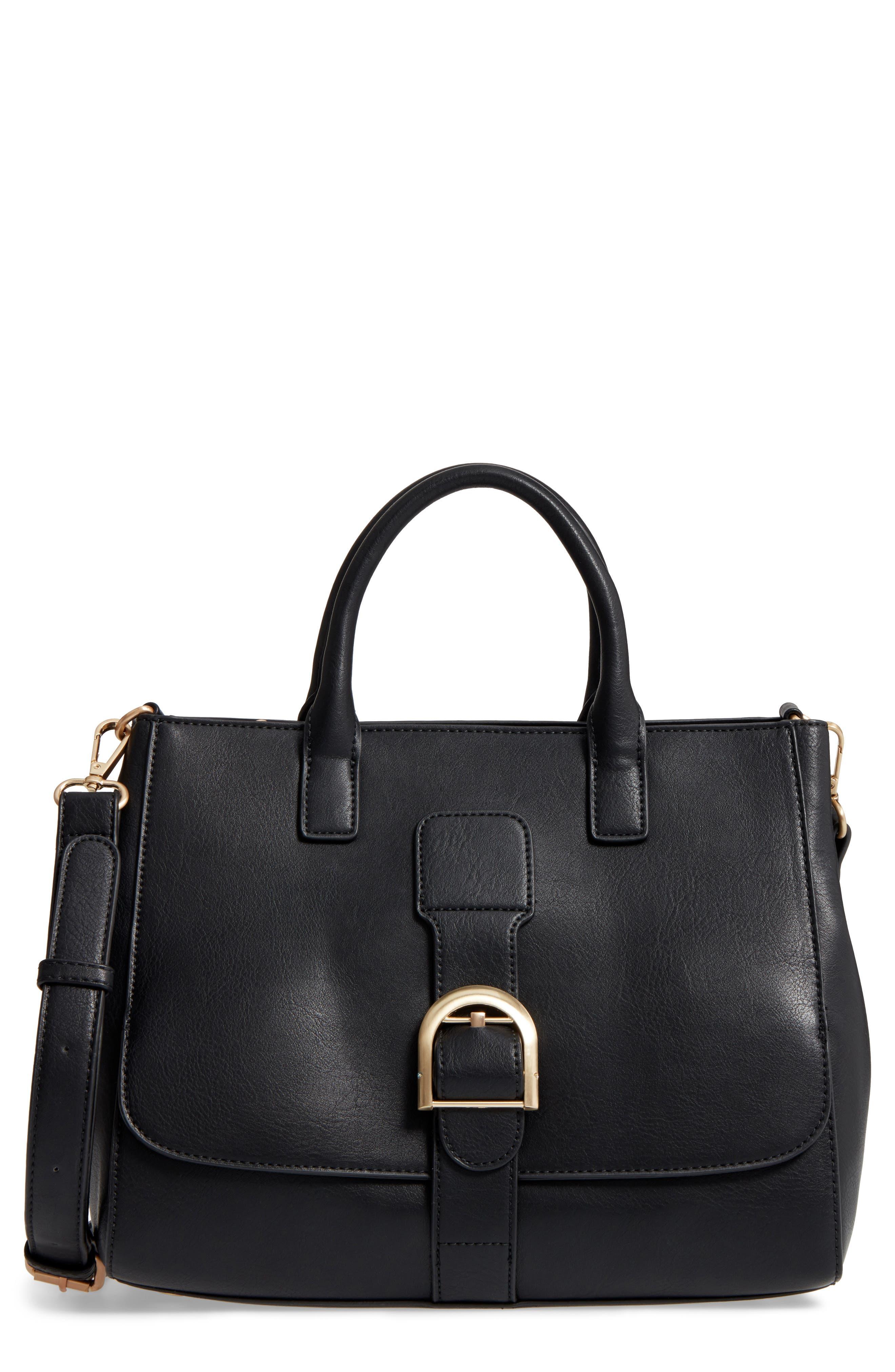 Zola Faux Leather Satchel,                         Main,                         color, 001