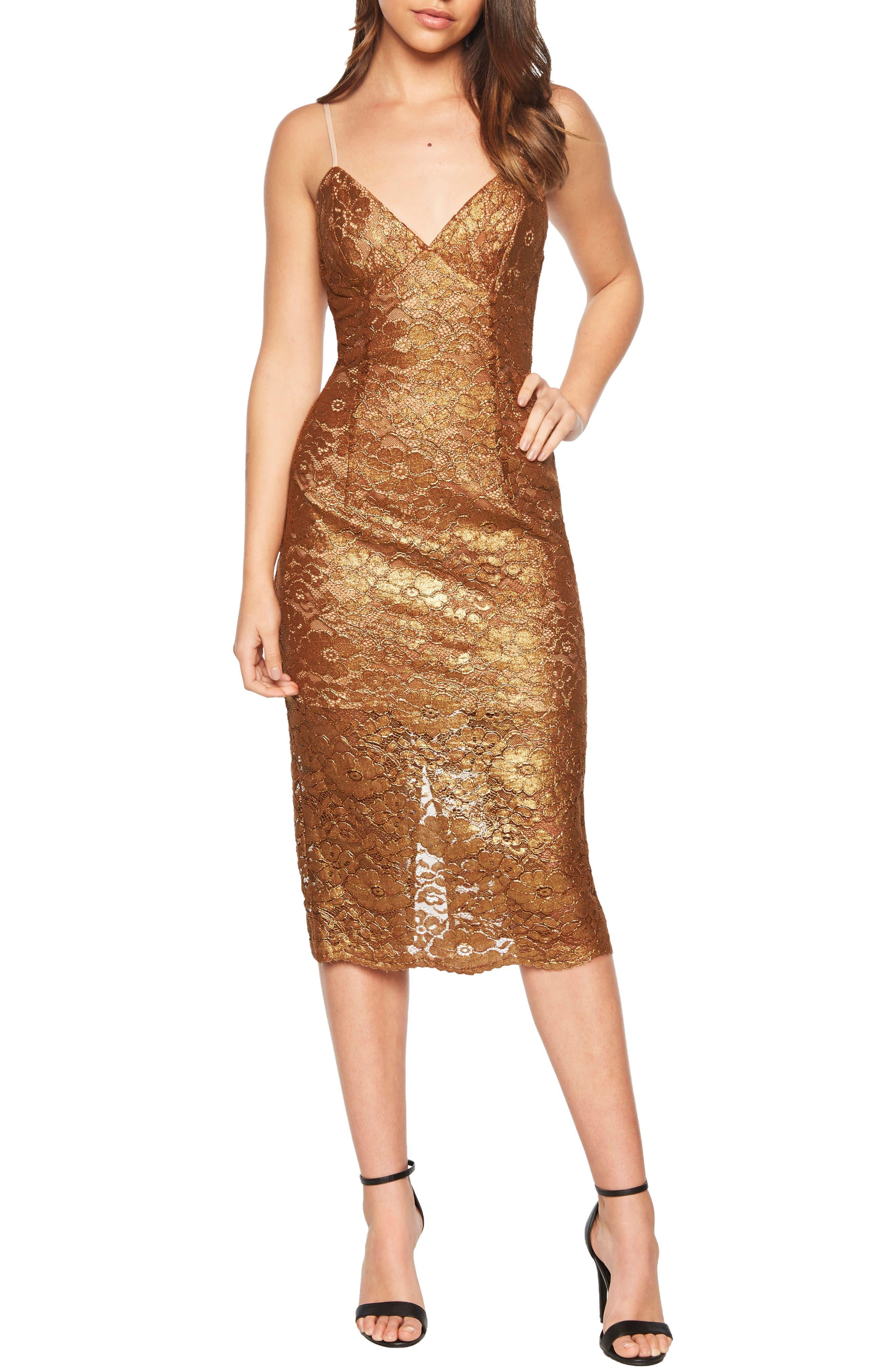 Metallic Lace Midi Sheath Dress,                             Main thumbnail 1, color,                             SOFT GOLD