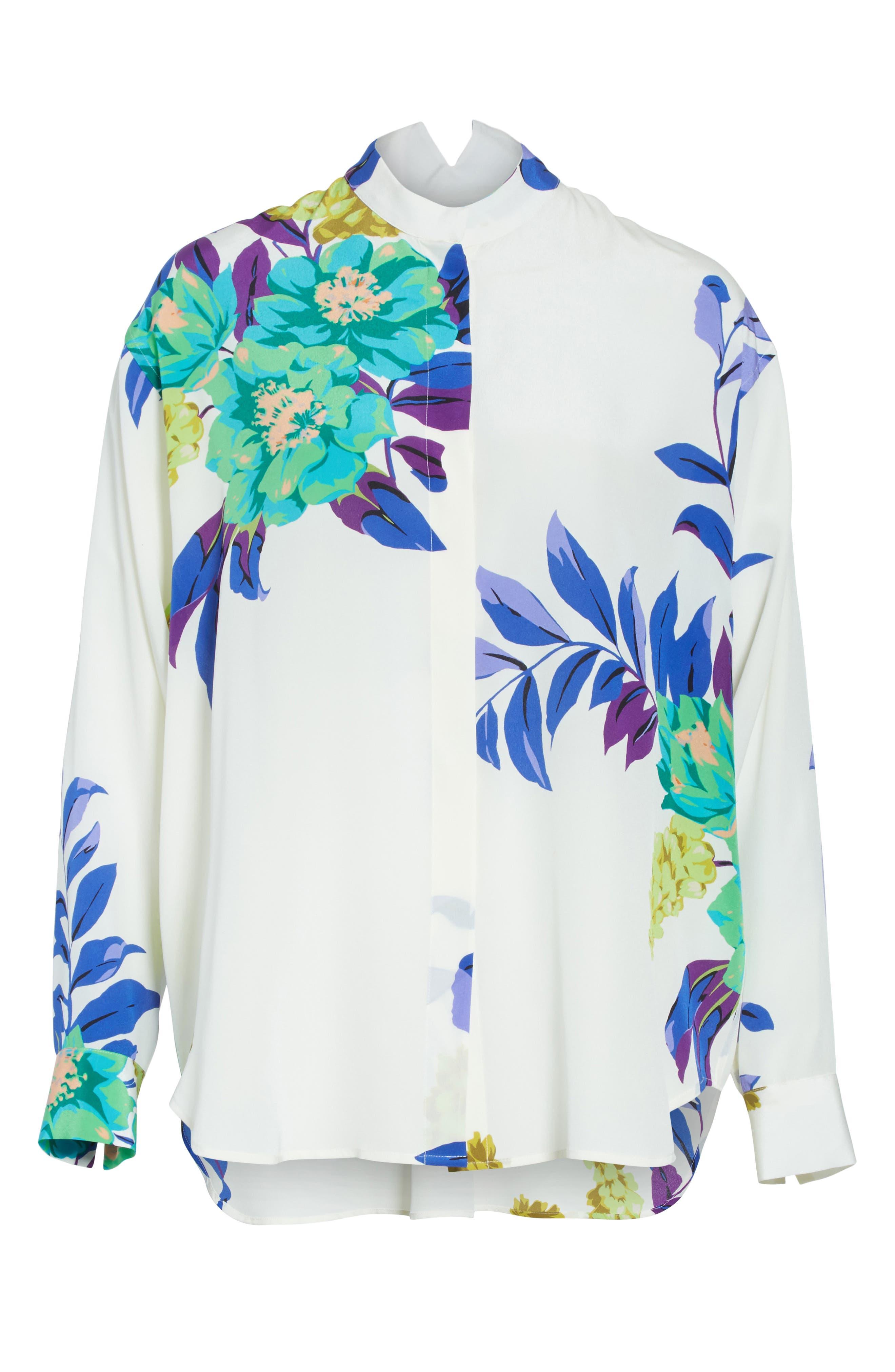 Floral Silk Blouse,                             Alternate thumbnail 6, color,                             100