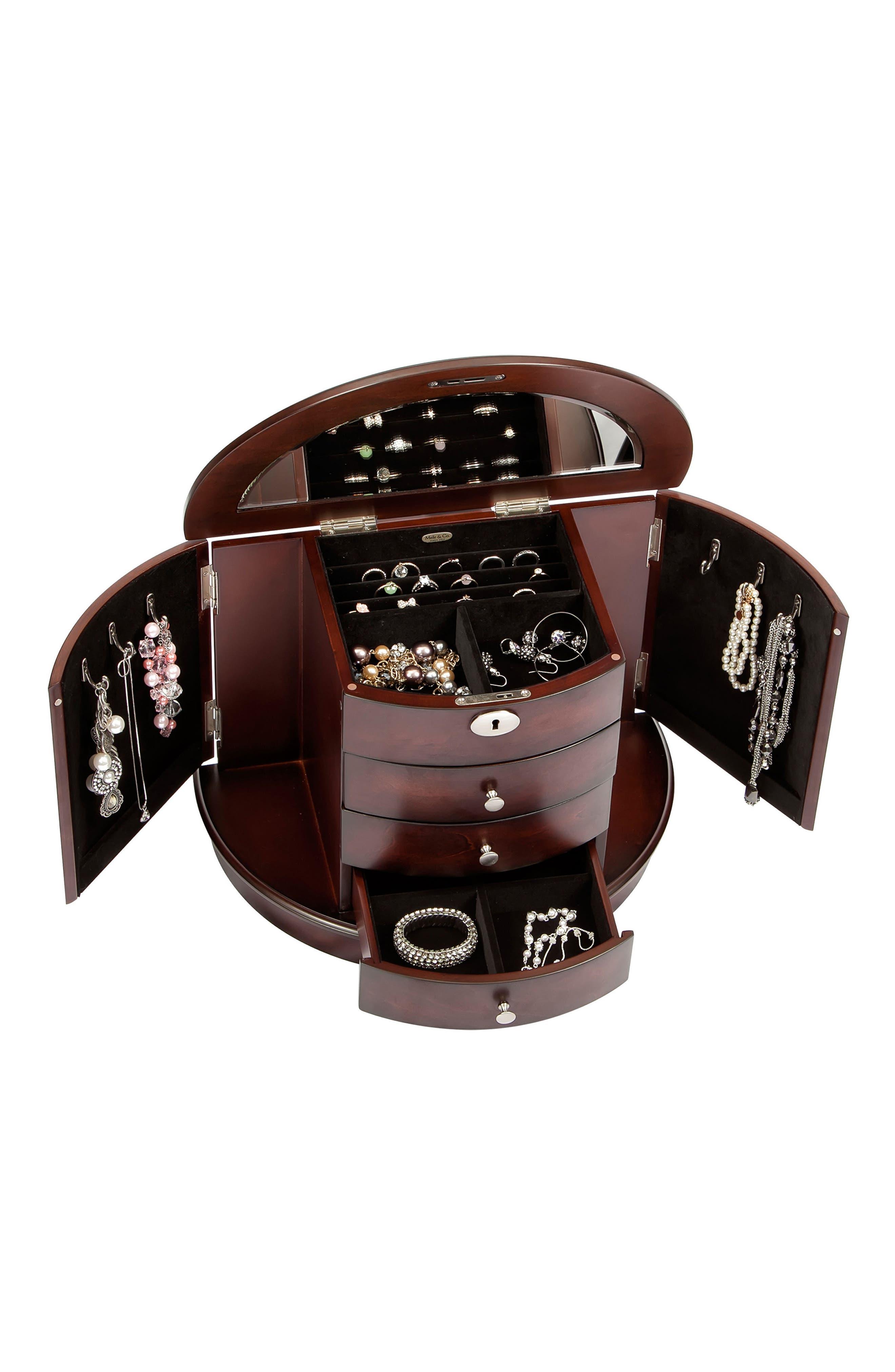 York Locking Jewelry Box,                             Alternate thumbnail 5, color,                             BROWN