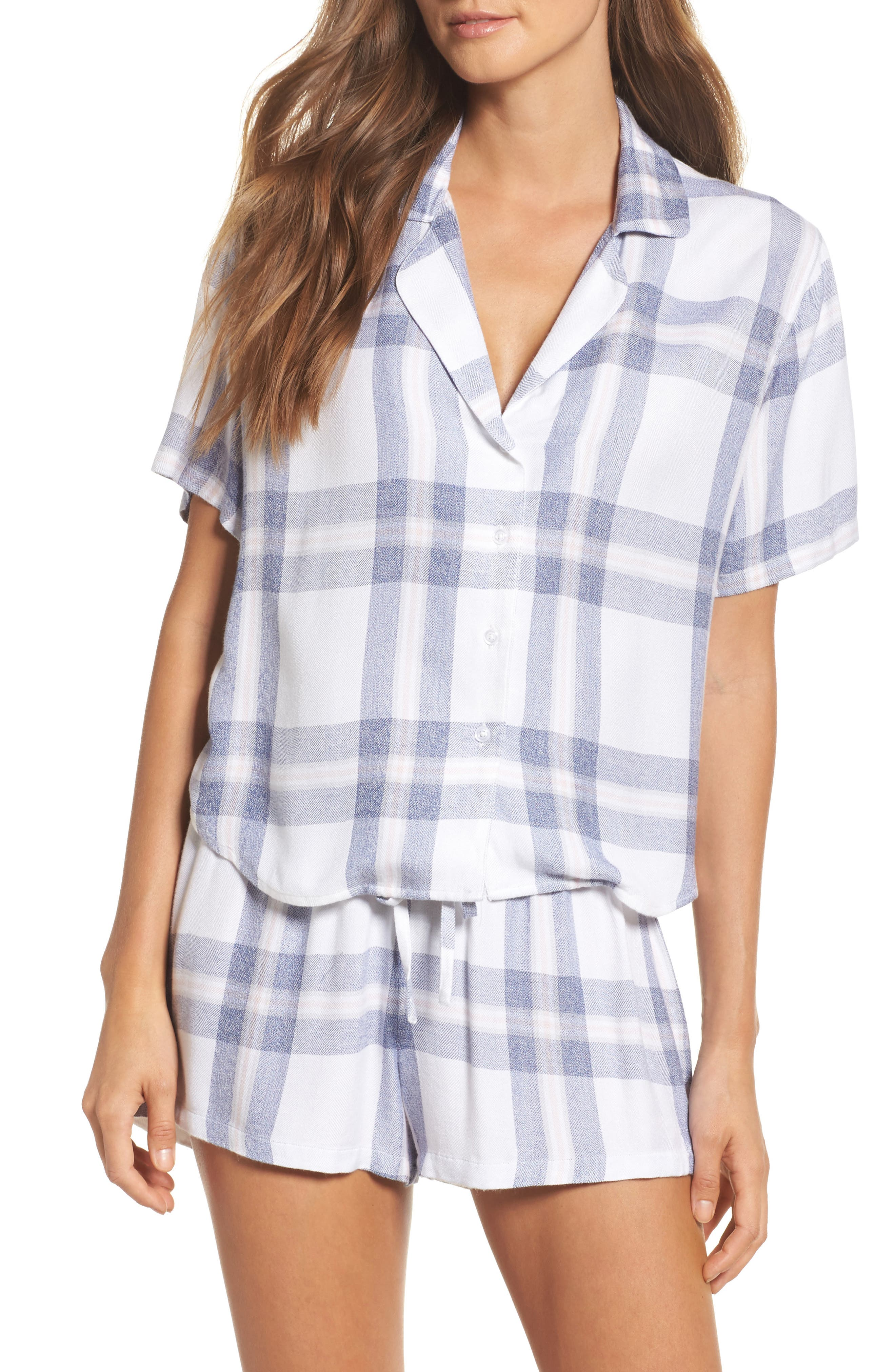 Plaid Short Pajamas,                             Main thumbnail 1, color,                             106