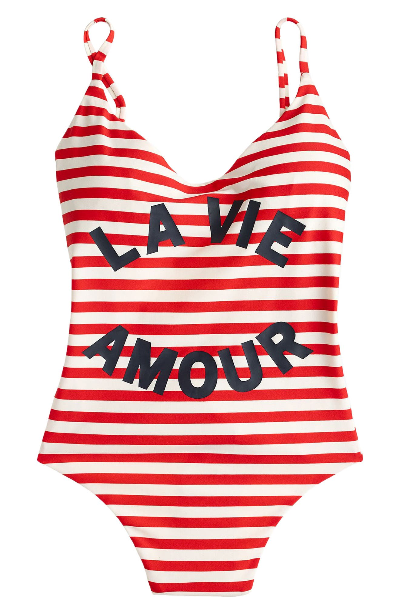 La Vie Amour Stripe One-Piece Swimsuit,                             Alternate thumbnail 3, color,                             VIVID FLAME IVORY