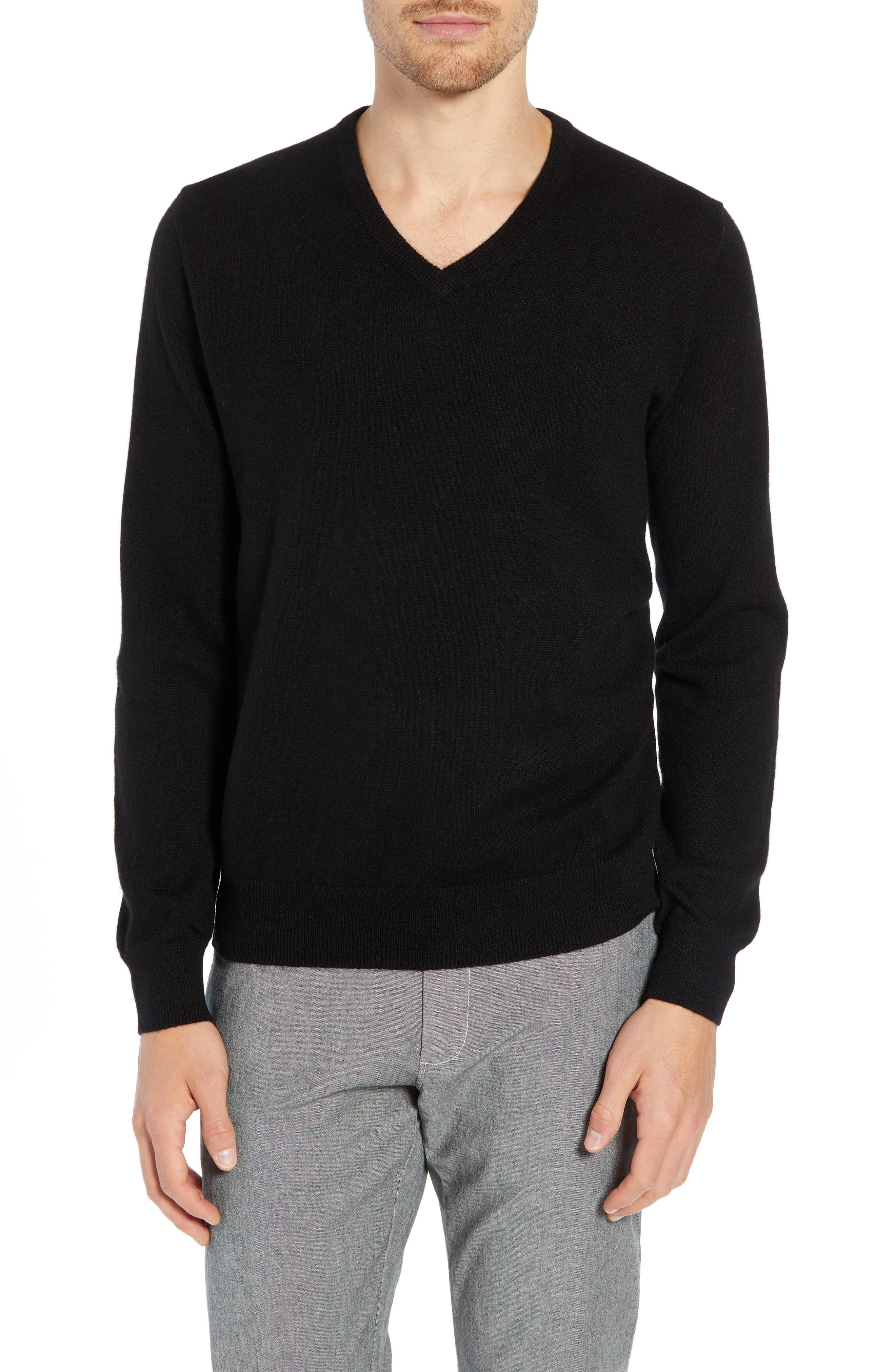 Everyday Cashmere Regular Fit V-Neck Sweater,                             Main thumbnail 1, color,                             BLACK
