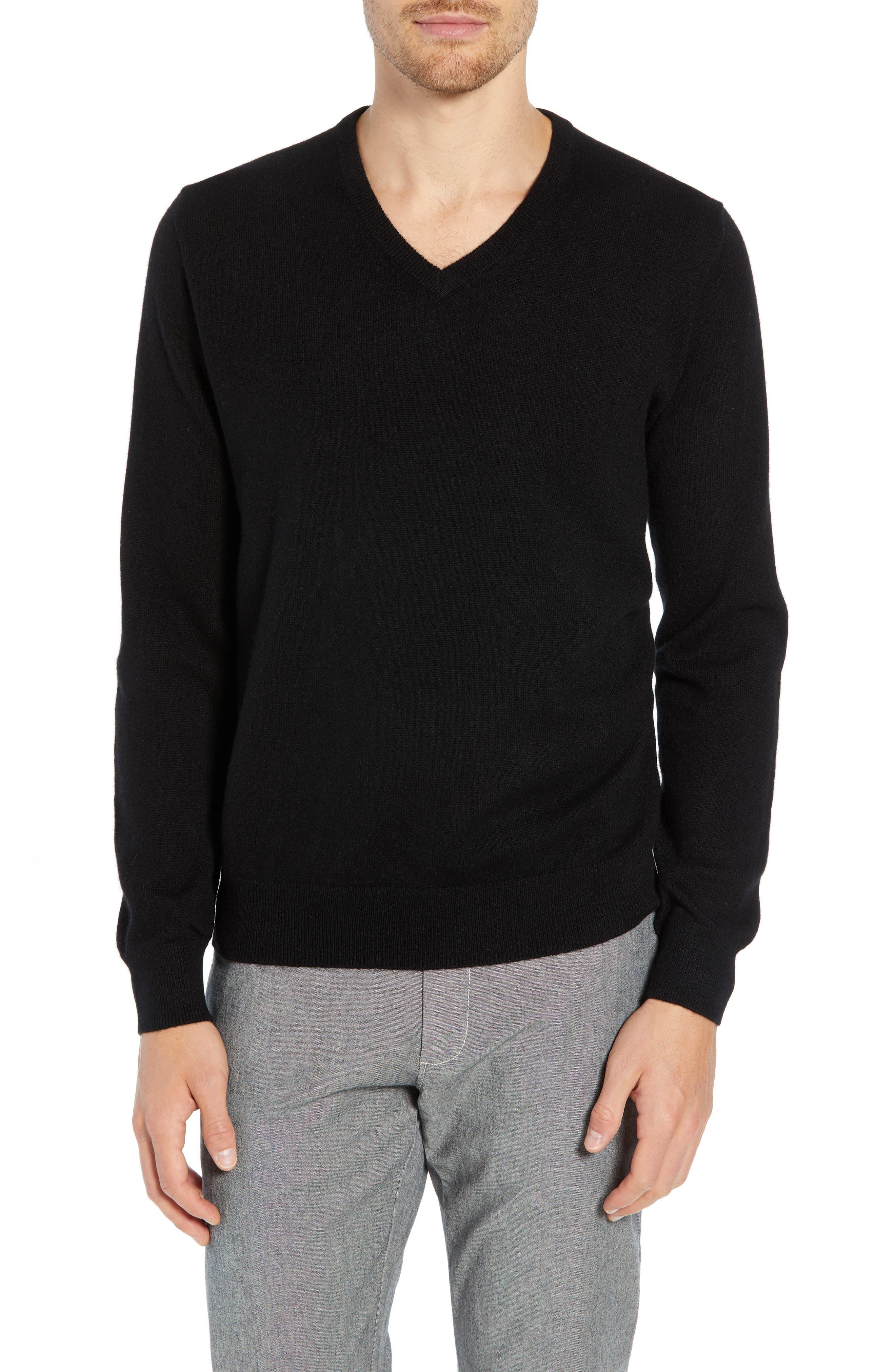 J.CREW Everyday Cashmere Regular Fit V-Neck Sweater, Main, color, 001