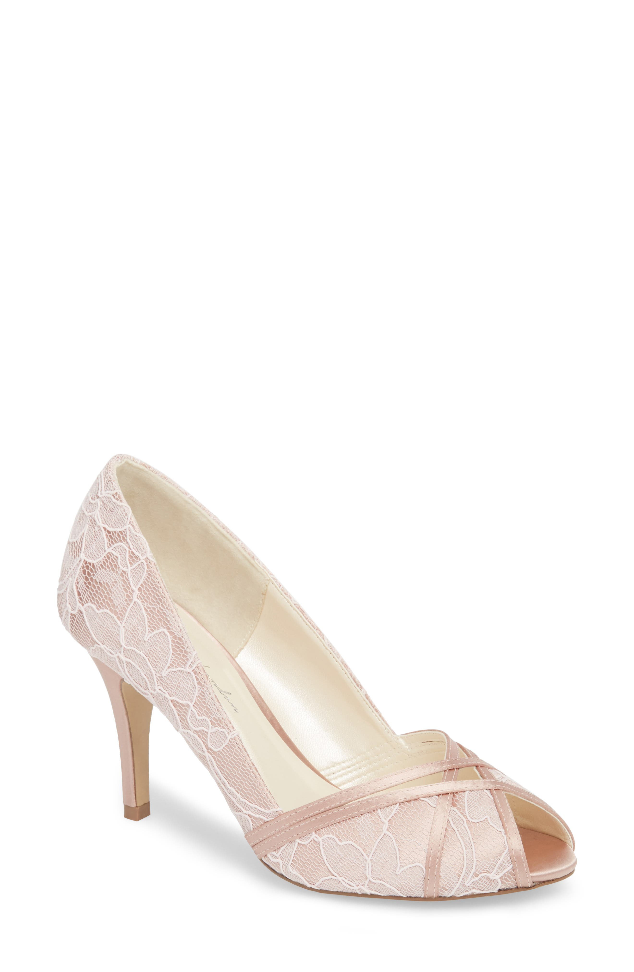 Cherie Embroidered Peep Toe Pump,                             Main thumbnail 1, color,                             BLUSH SATIN