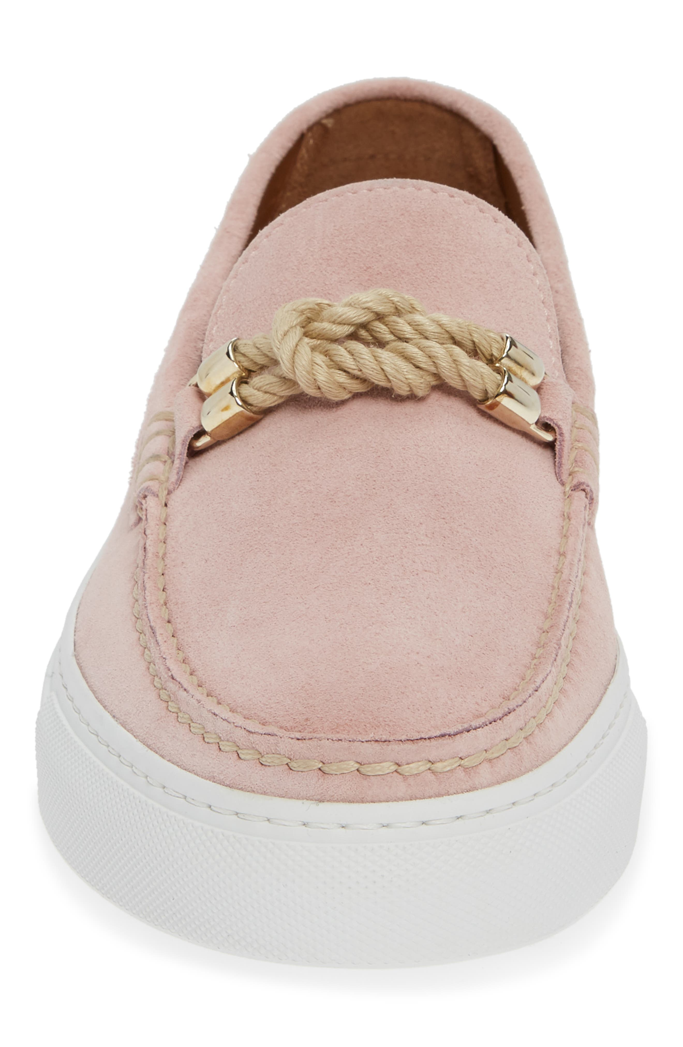 Britton Square Knot Loafer,                             Alternate thumbnail 4, color,                             ROSE SUEDE