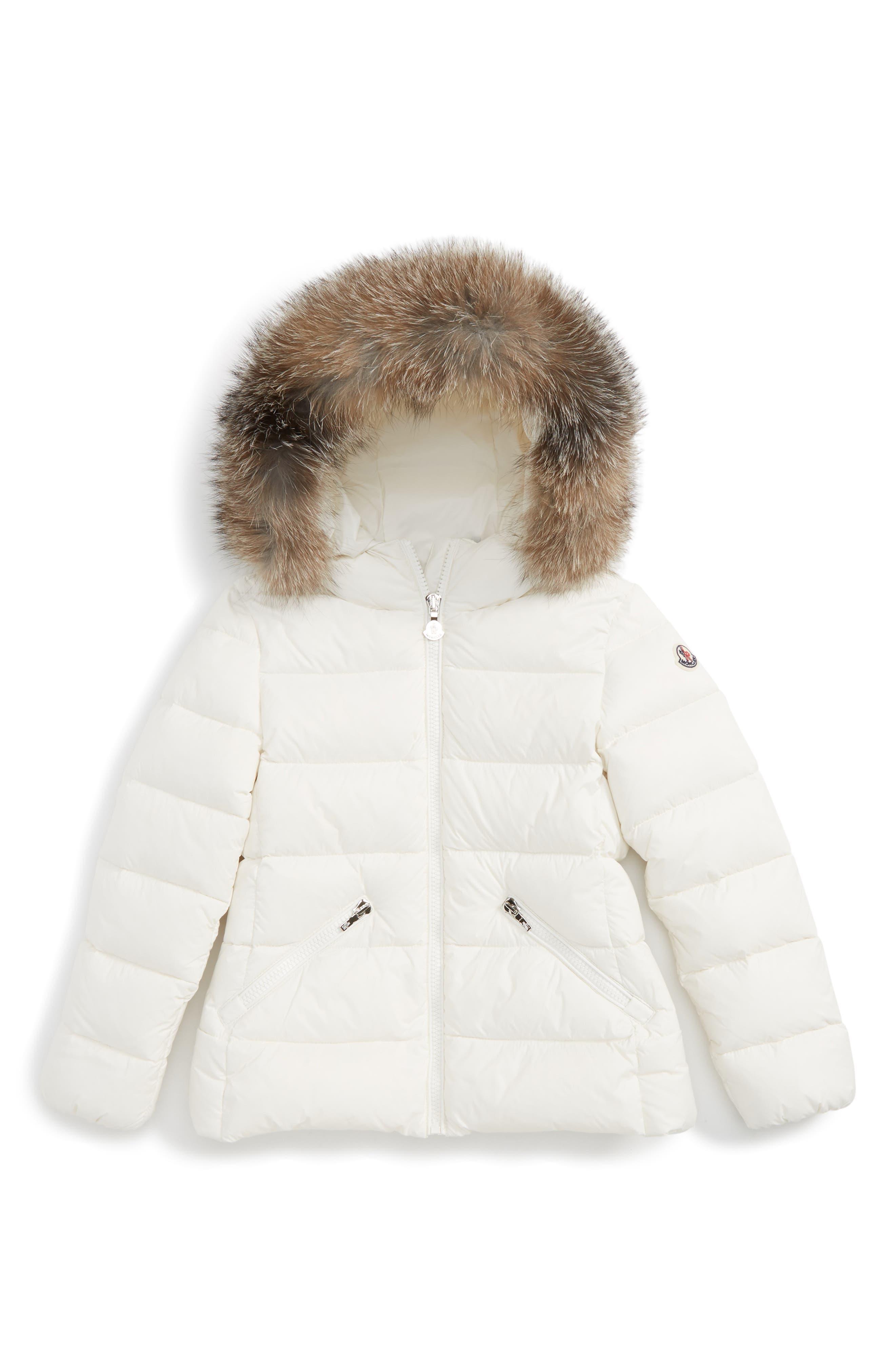 Aimeet Hooded Down Jacket with Genuine Fox Fur,                             Main thumbnail 1, color,                             101