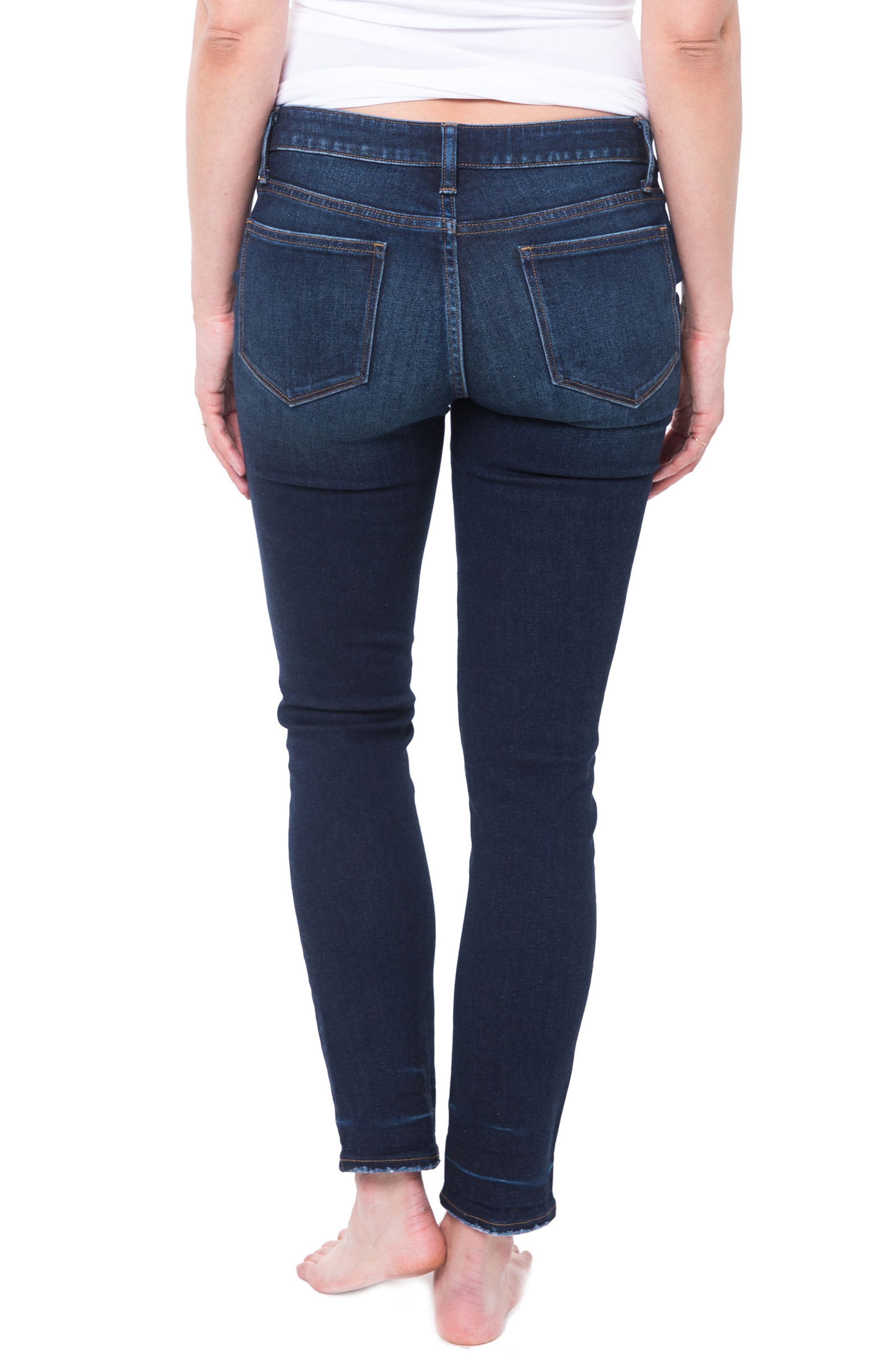 NOM MATERNITY,                             Chelsea Under the Belly Ankle Skinny Jeans,                             Alternate thumbnail 2, color,                             DARK WASH
