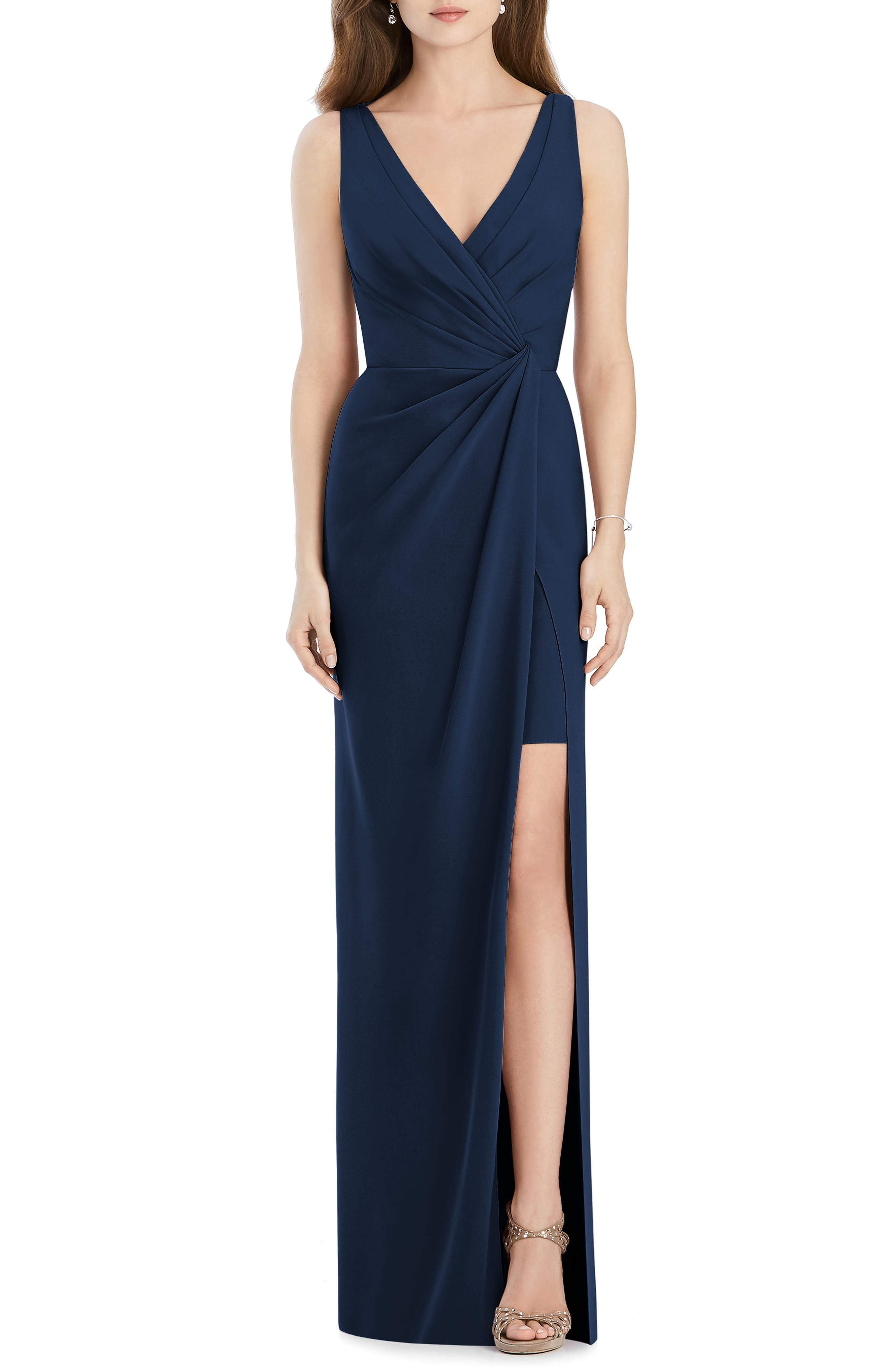 Jenny Packham Crepe Column Gown, Blue