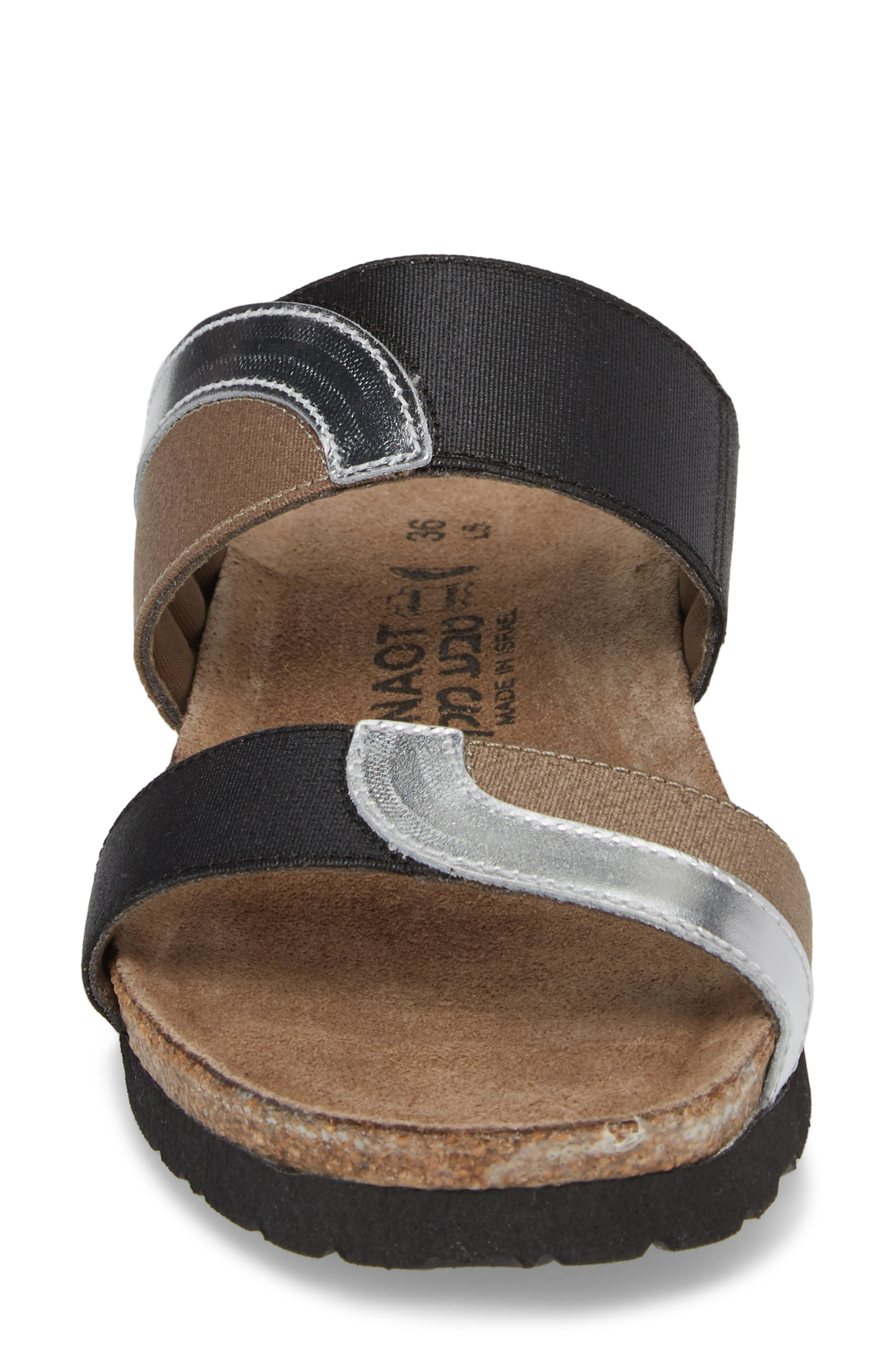 Frankie Slide Sandal,                             Alternate thumbnail 4, color,                             SILVER MIRROR LEATHER