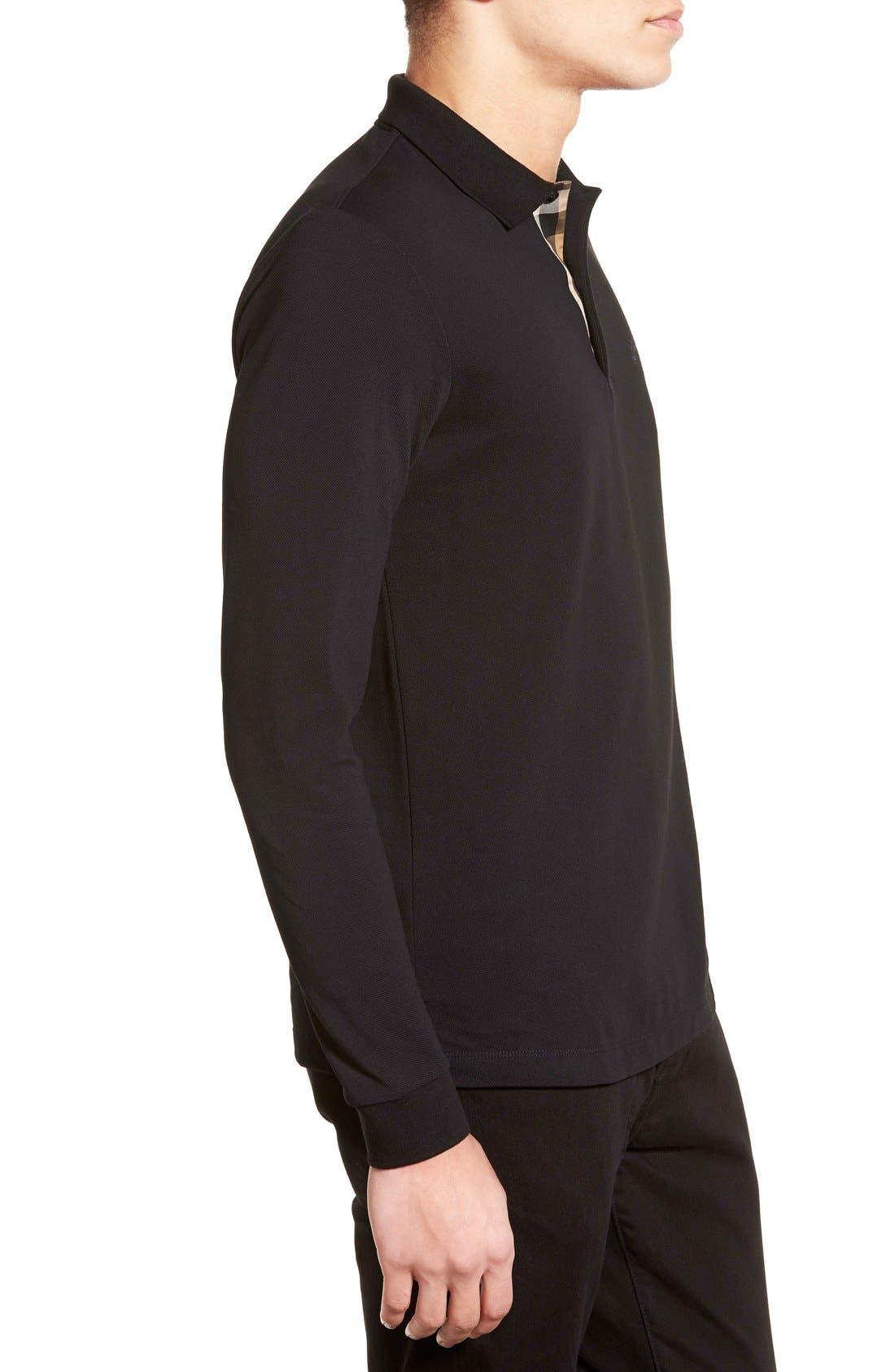 Brit 'Oxford' Long Sleeve Polo,                             Alternate thumbnail 3, color,                             001