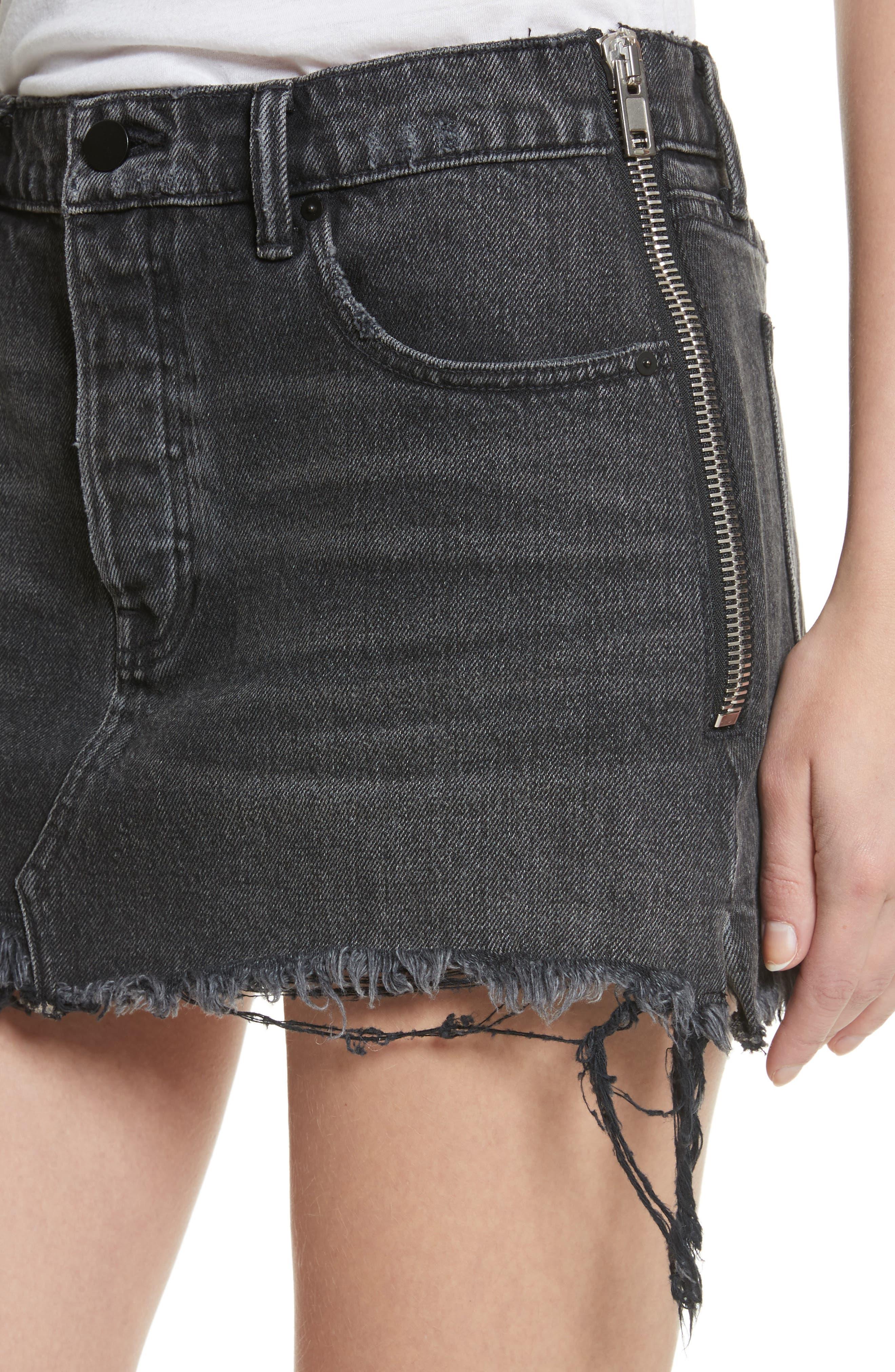 T by Alexander Wang Destroyed Hem Denim Skirt,                             Alternate thumbnail 4, color,                             025