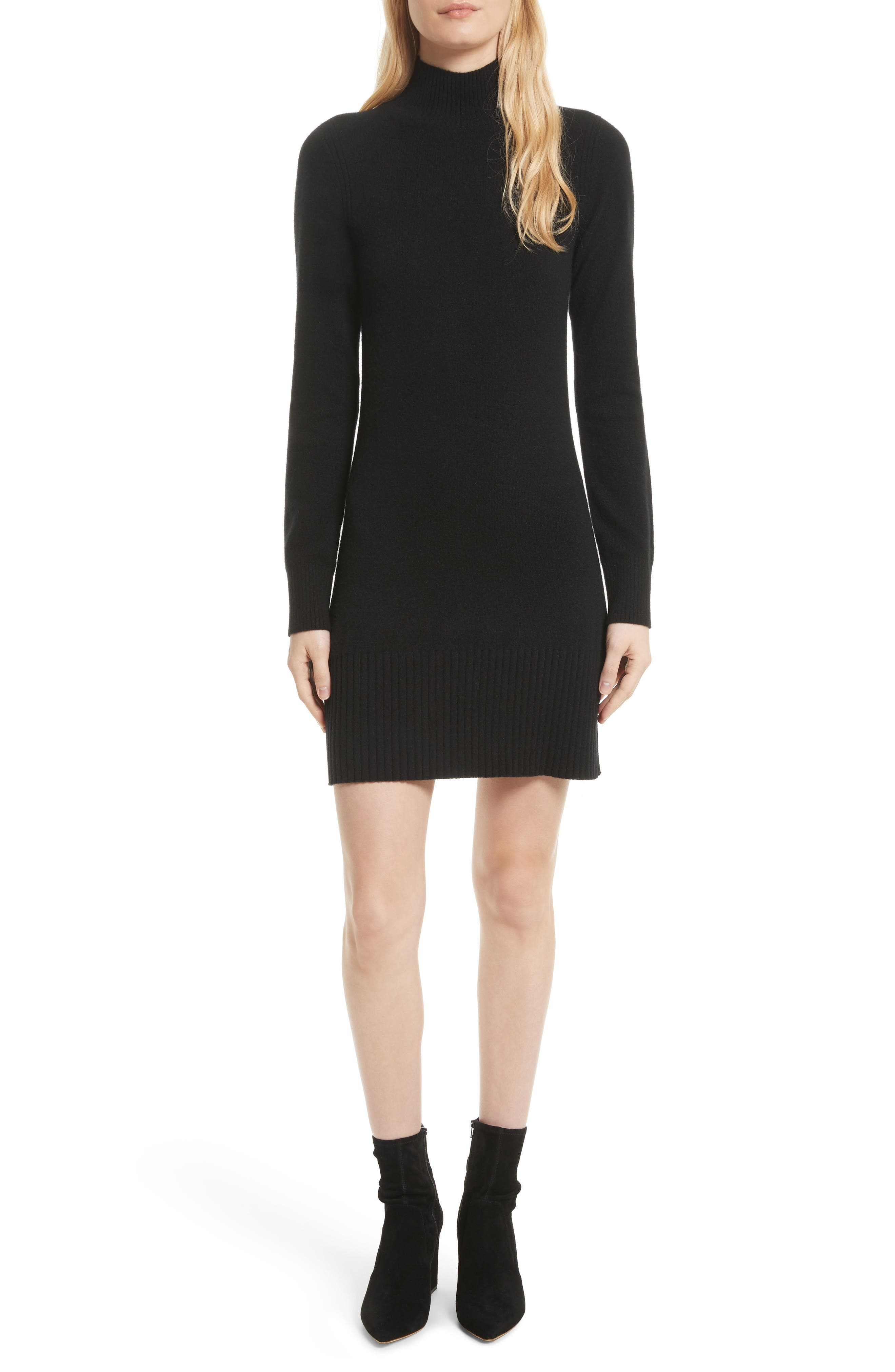 Turtleneck Cashmere Sweater Dress,                             Main thumbnail 1, color,                             001