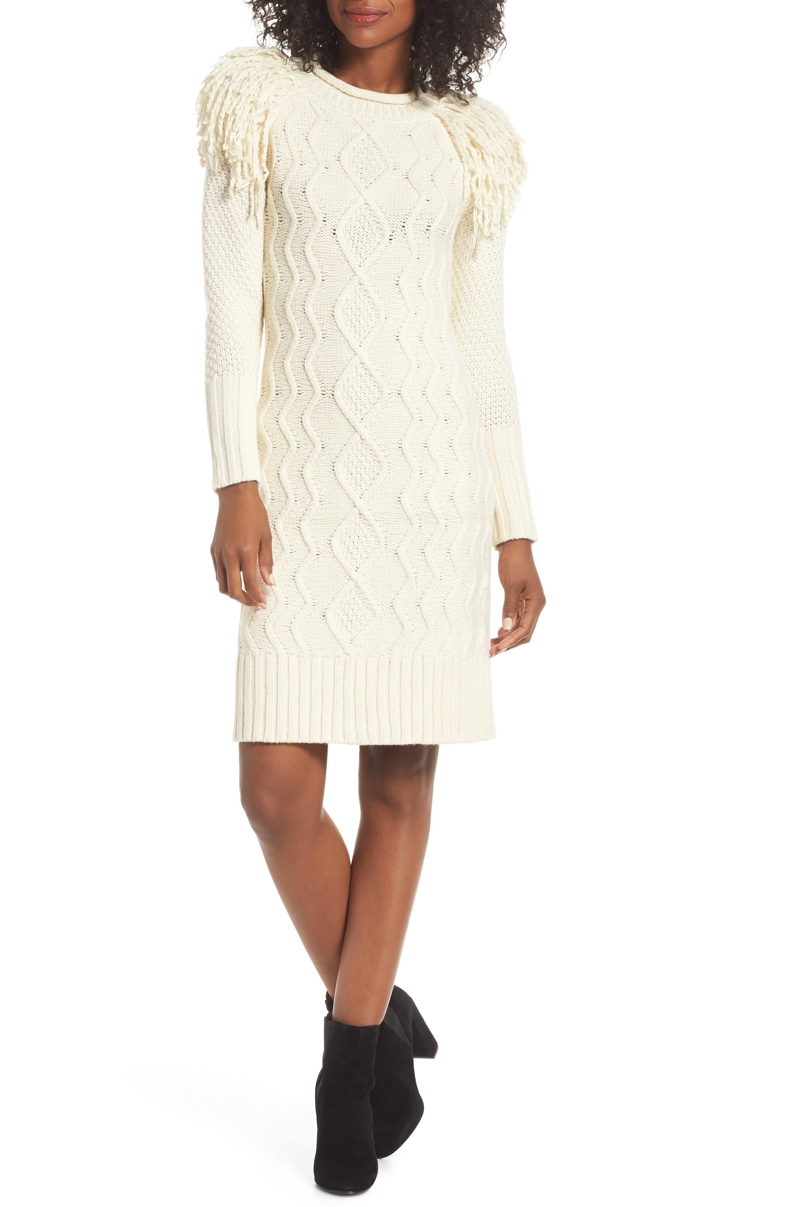 Eliza J Fringe Shoulder Cable Sweater Dress, Ivory