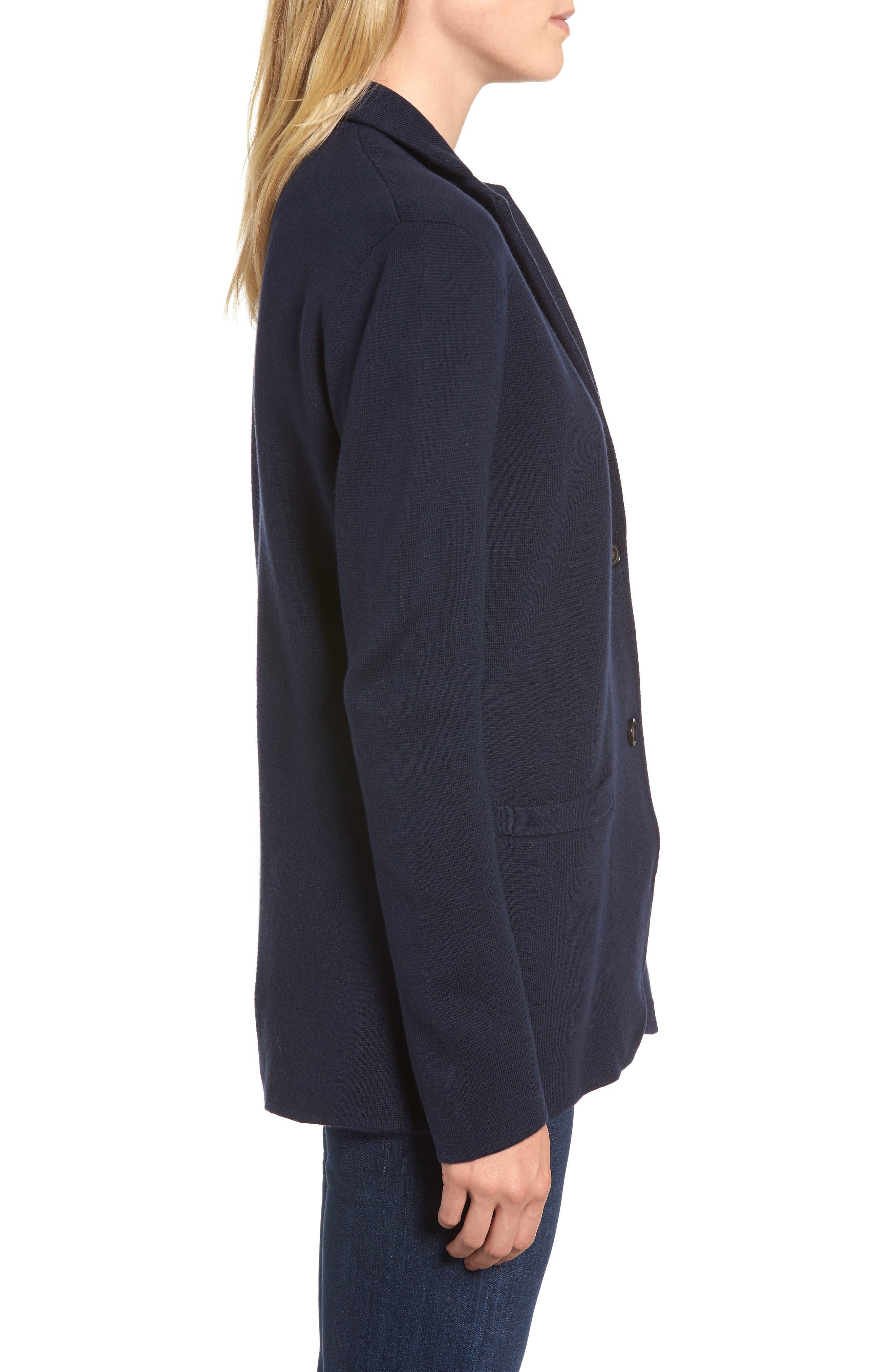 Merino Sweater Blazer,                             Alternate thumbnail 3, color,                             NAVY