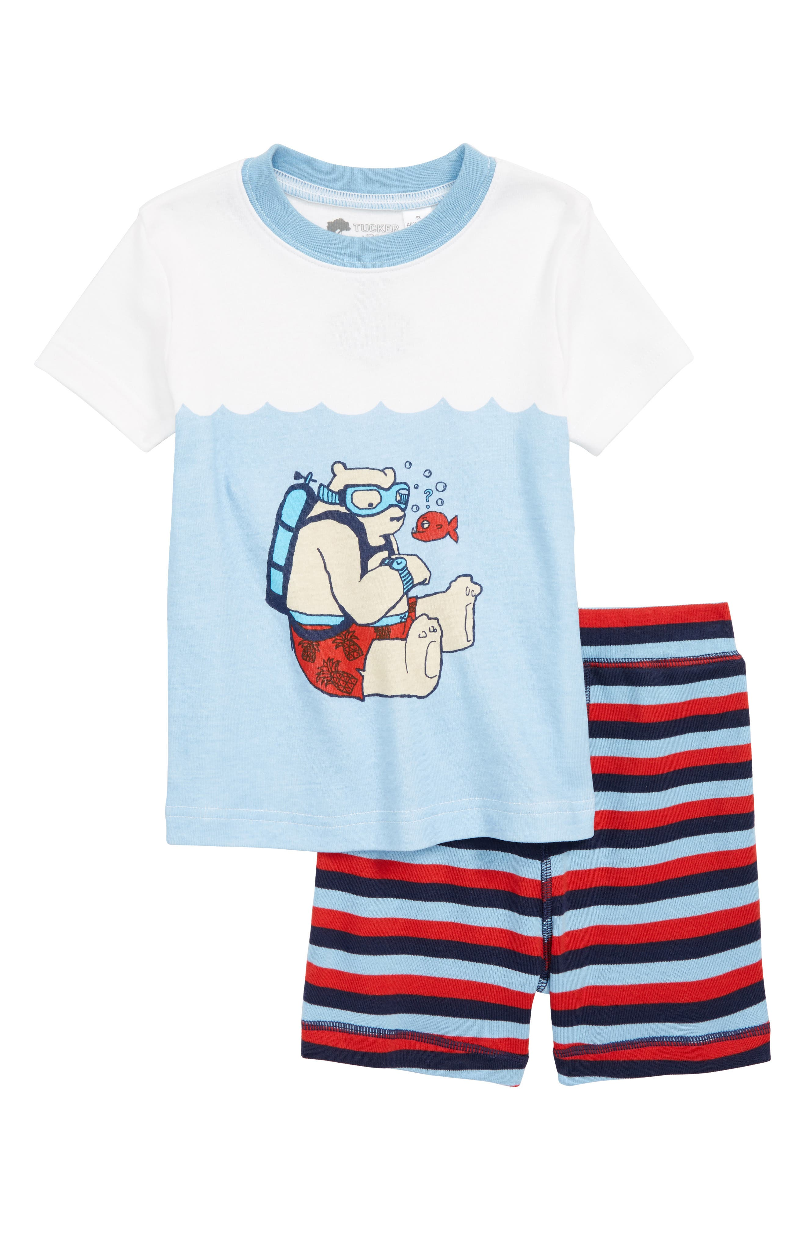 Two-Piece Fitted Pajamas,                         Main,                         color, BLUE DUSK UNDERWATER BEAR