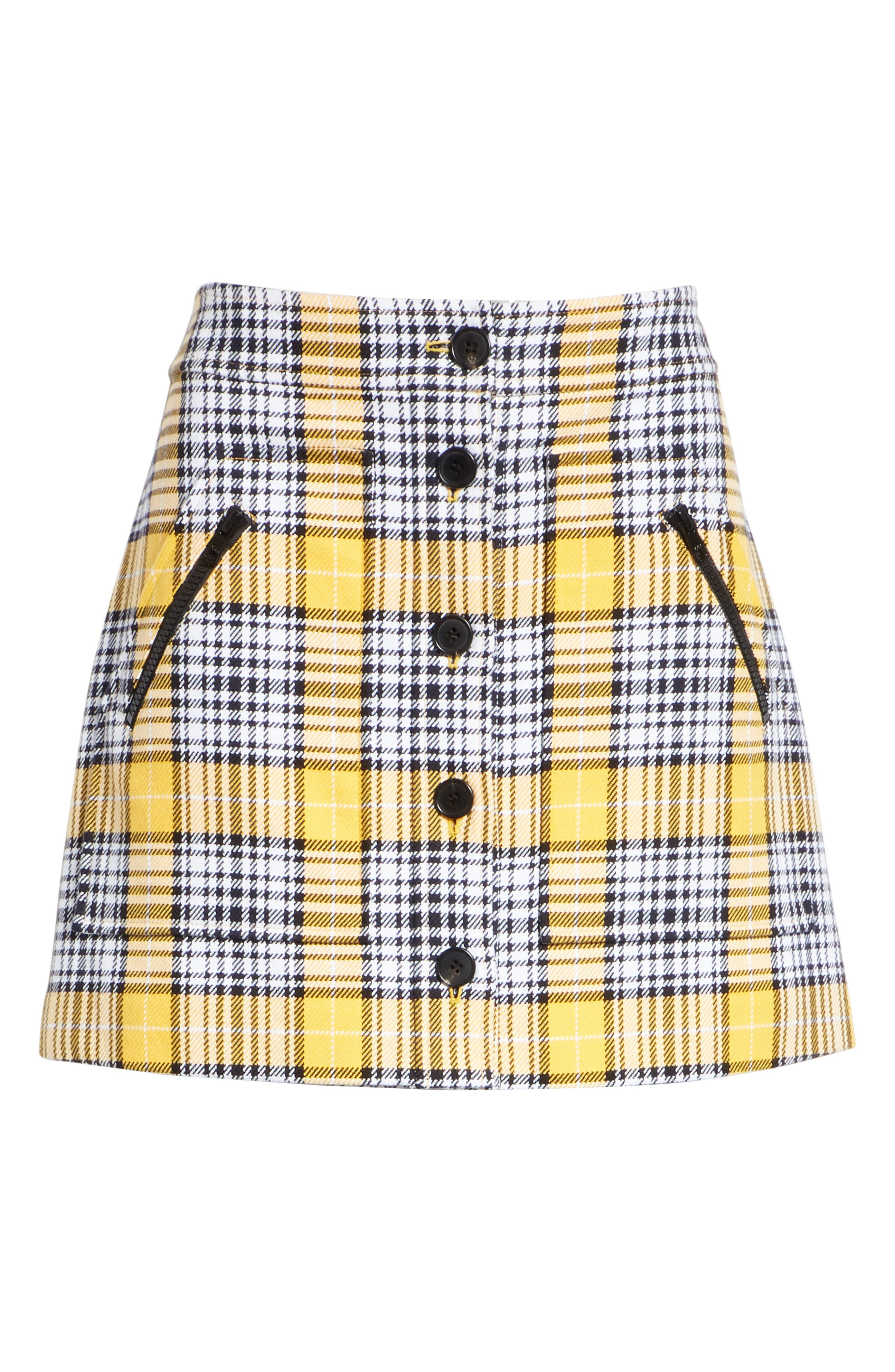 Monroe Plaid Miniskirt,                             Alternate thumbnail 6, color,                             YELLOW