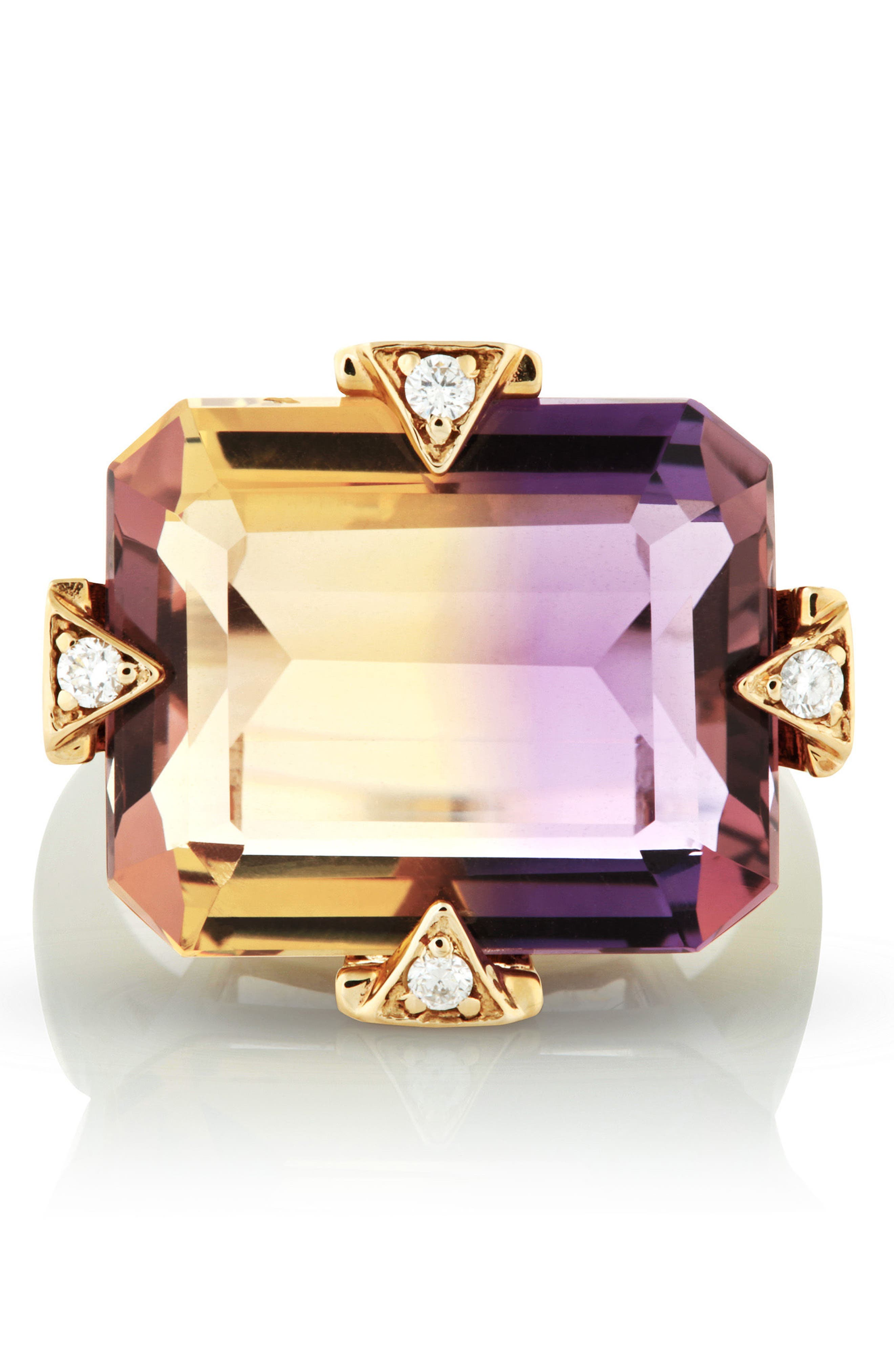 Cocktail Ring with Diamonds,                             Alternate thumbnail 3, color,                             AMETRINE