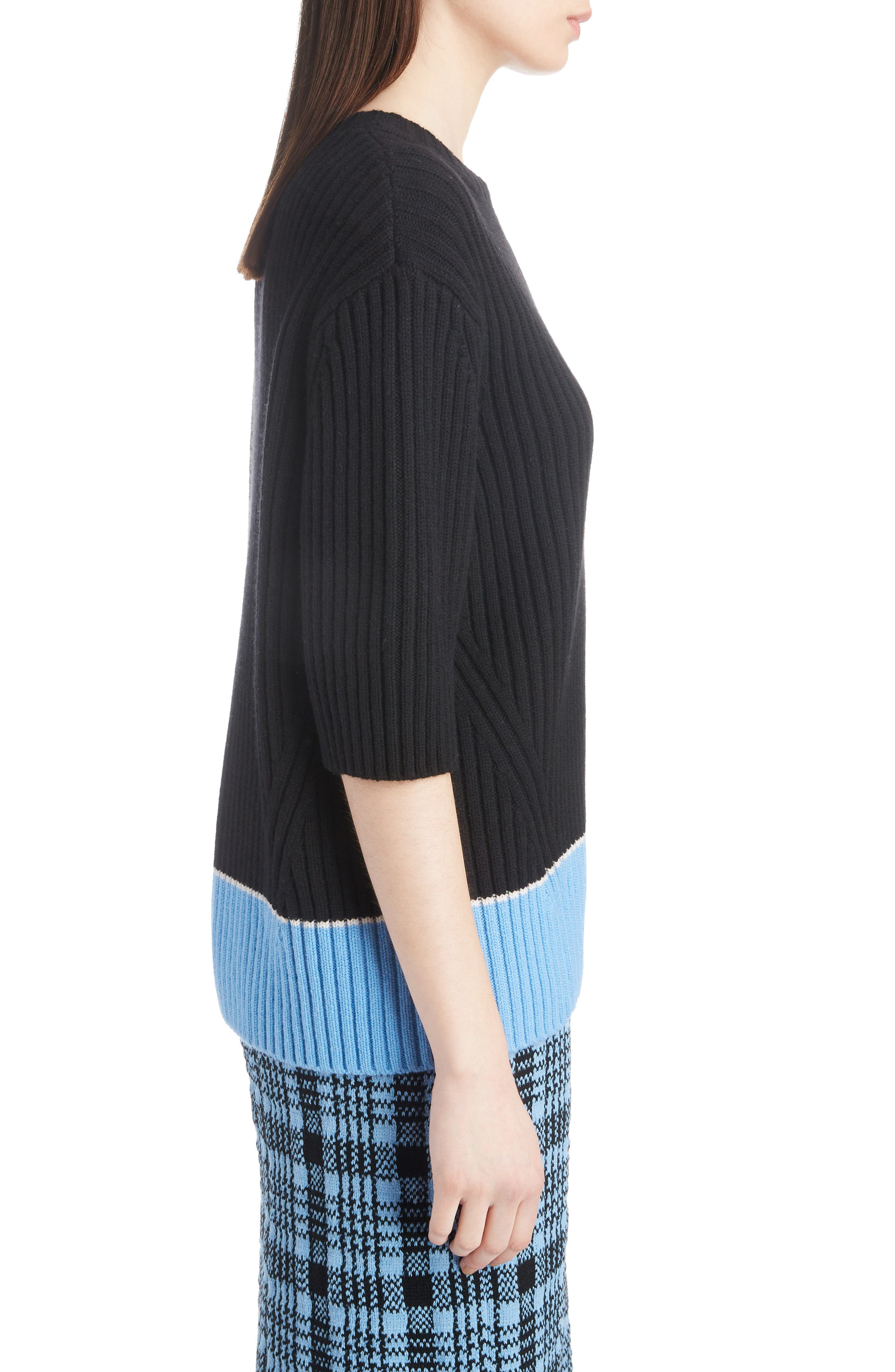 Contrast Hem Merino Wool & Cashmere Sweater,                             Alternate thumbnail 3, color,                             001