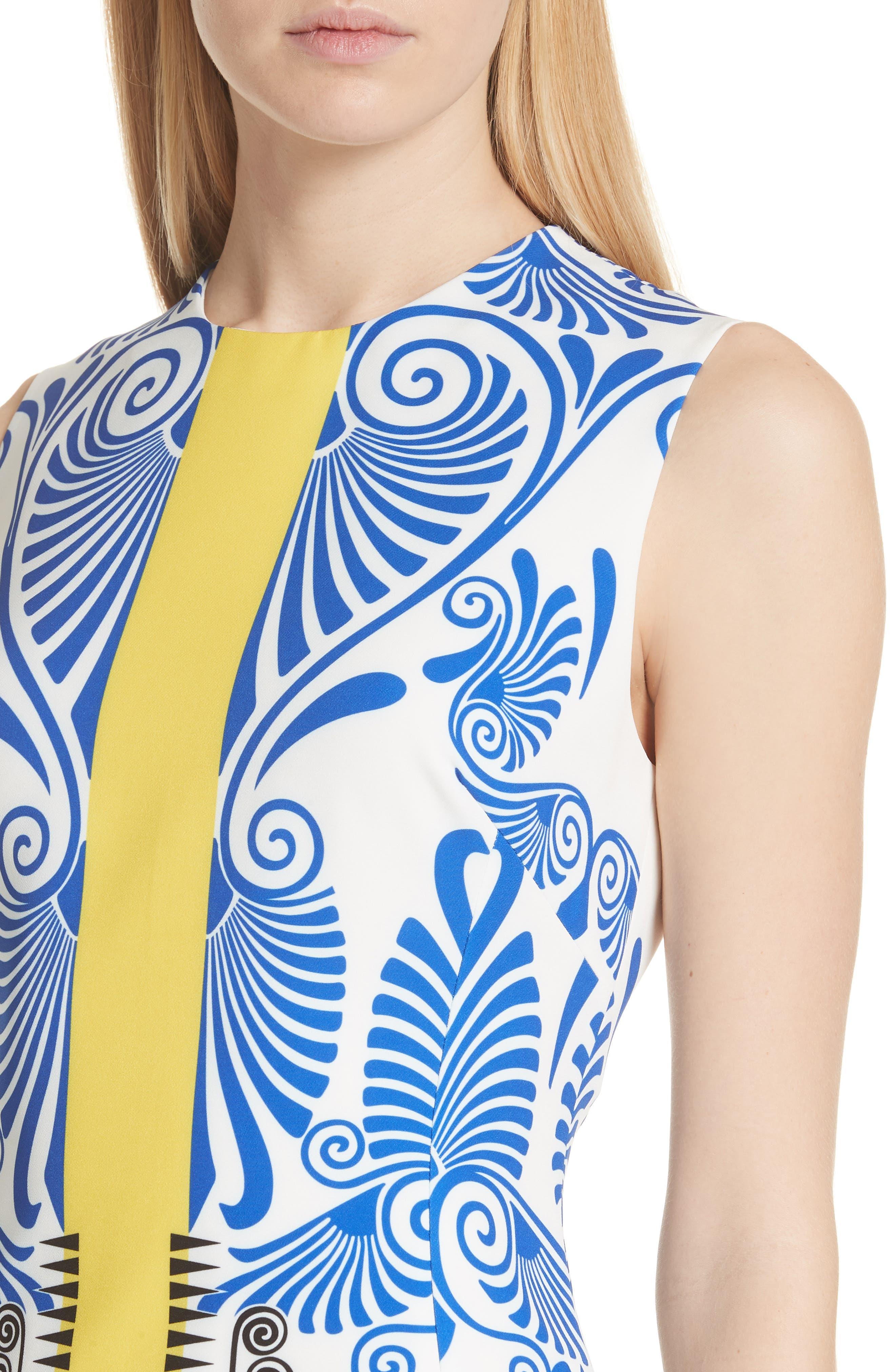 Eros Stretch Cady Sheath Dress,                             Alternate thumbnail 4, color,                             112