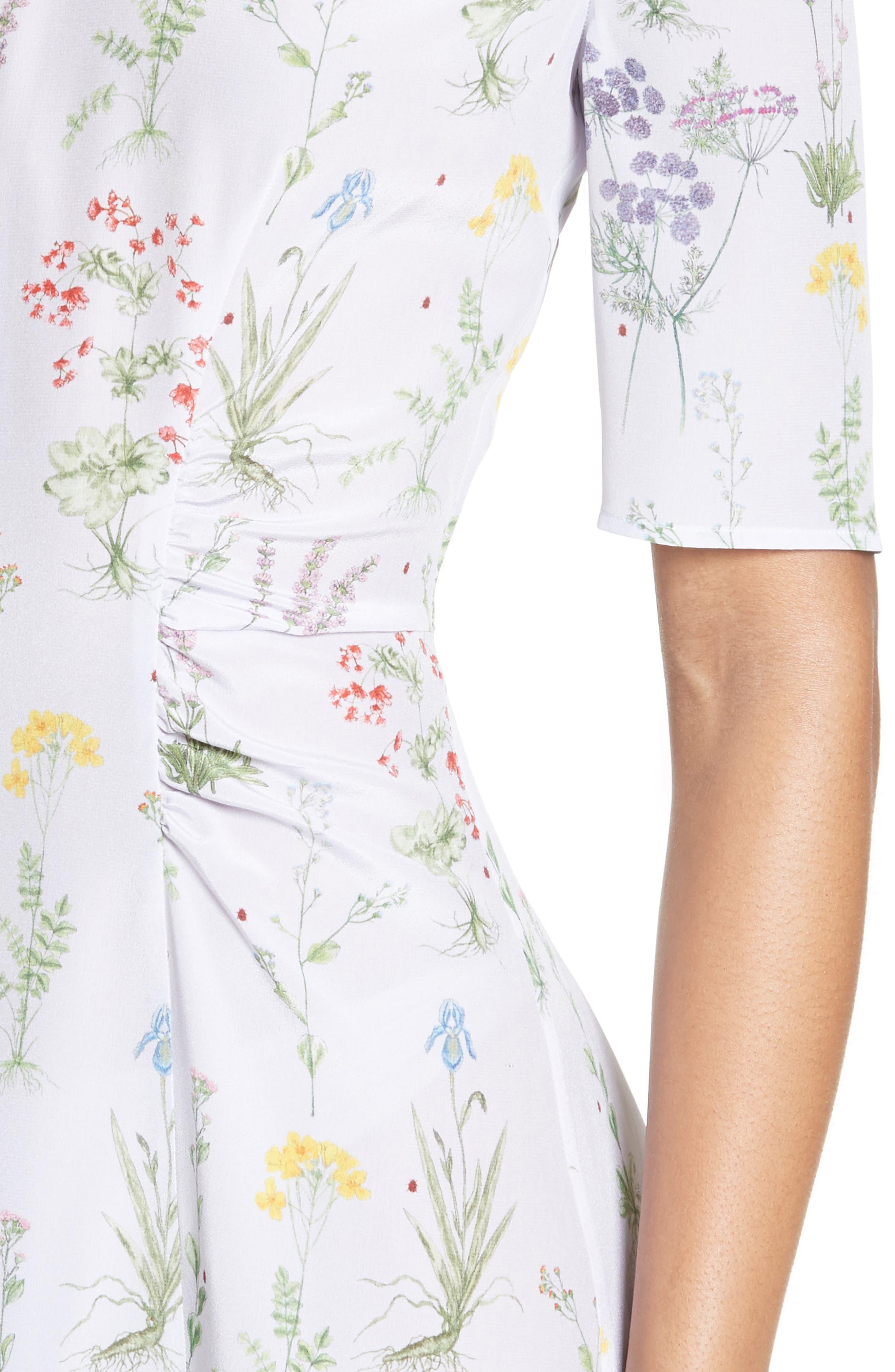 Sylvia Floral Silk A-Line Dress,                             Alternate thumbnail 4, color,                             582