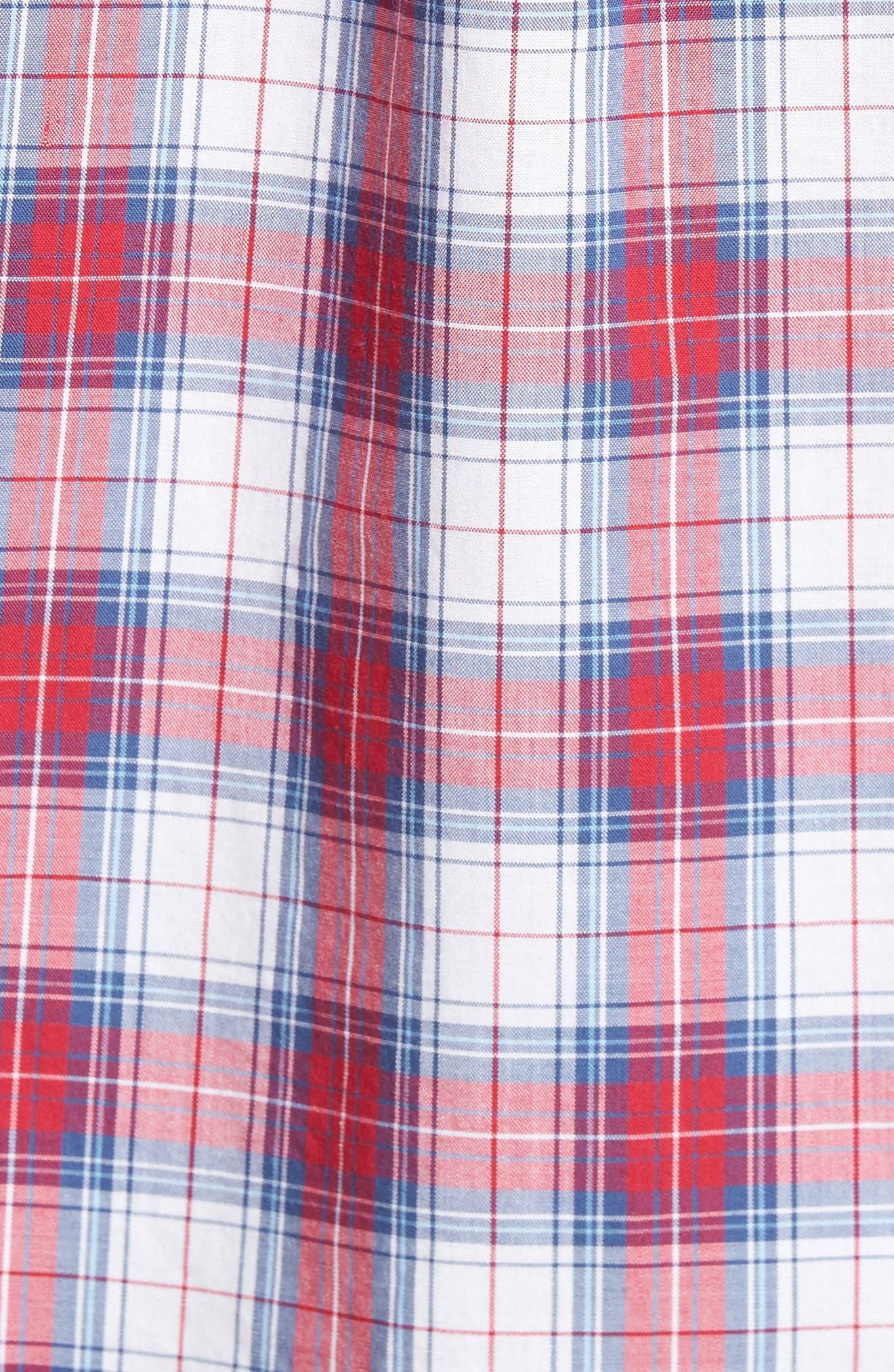 Murray Bucklin Point Slim Fit Plaid Sport Shirt,                             Alternate thumbnail 5, color,