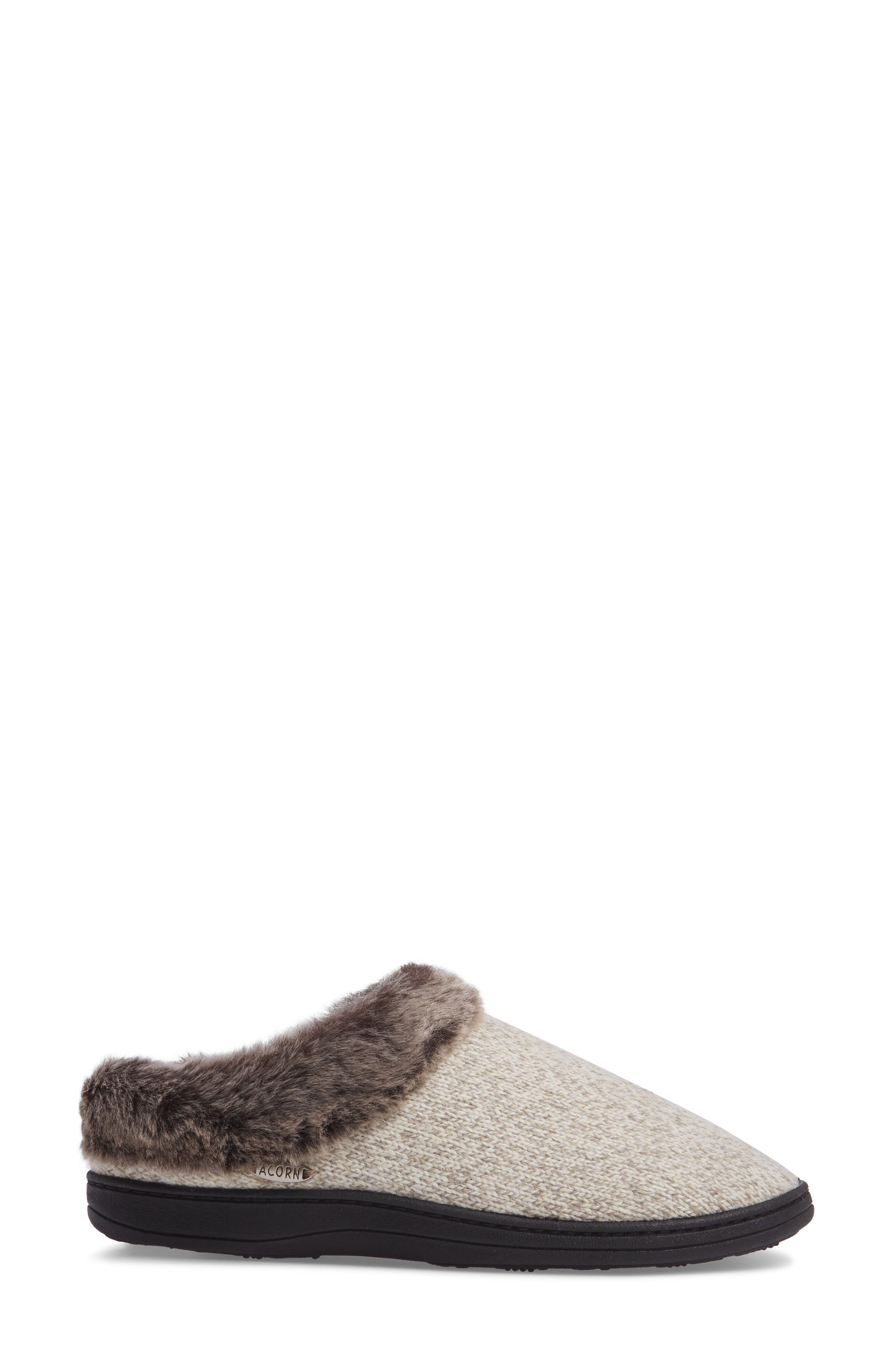 Chinchilla Faux Fur Slipper,                             Alternate thumbnail 3, color,                             CHARCOAL HEATHER