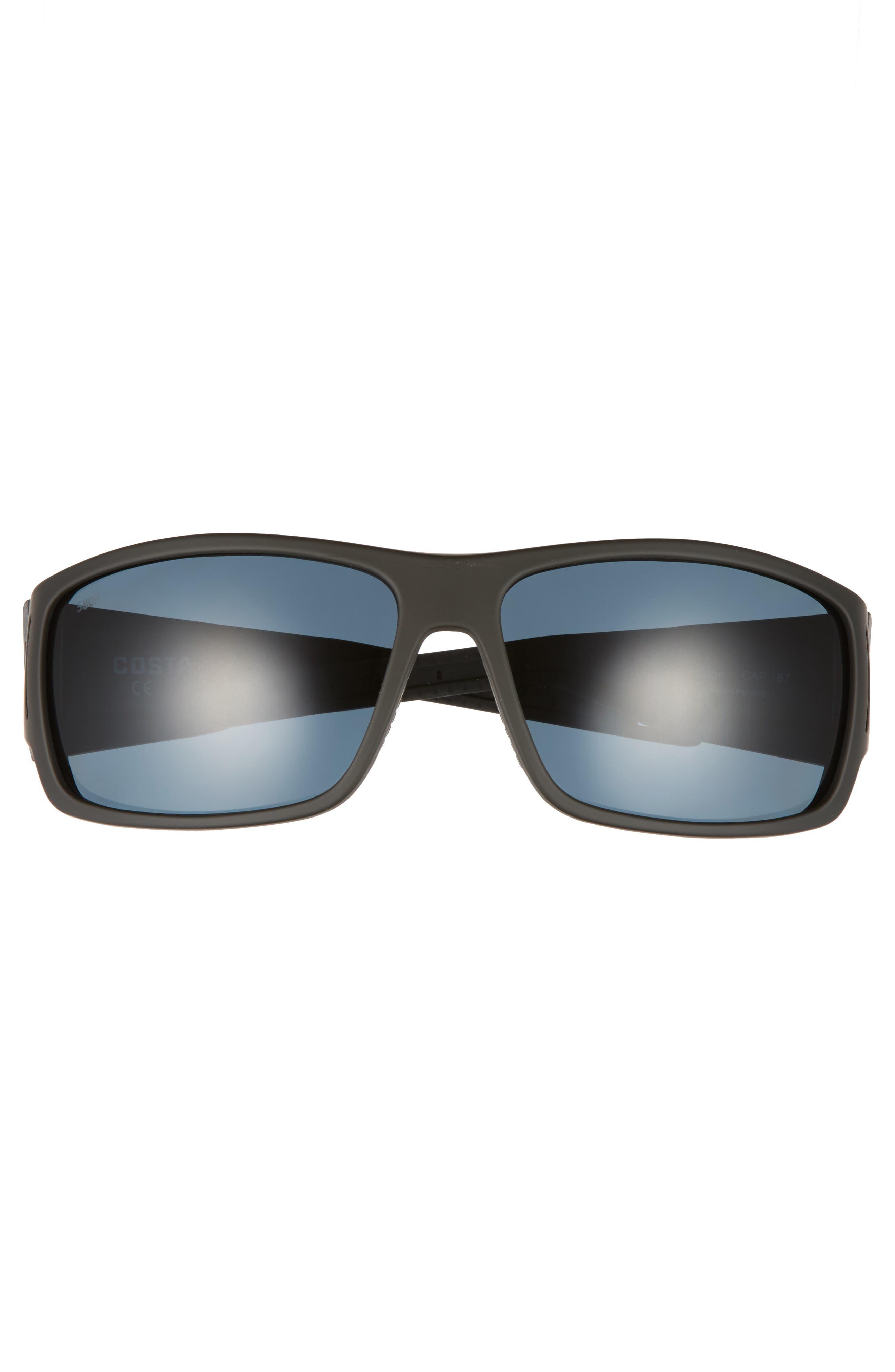 Cape 66mm Polarized Sunglasses,                             Alternate thumbnail 2, color,                             MATTE BLACK/ GRAY