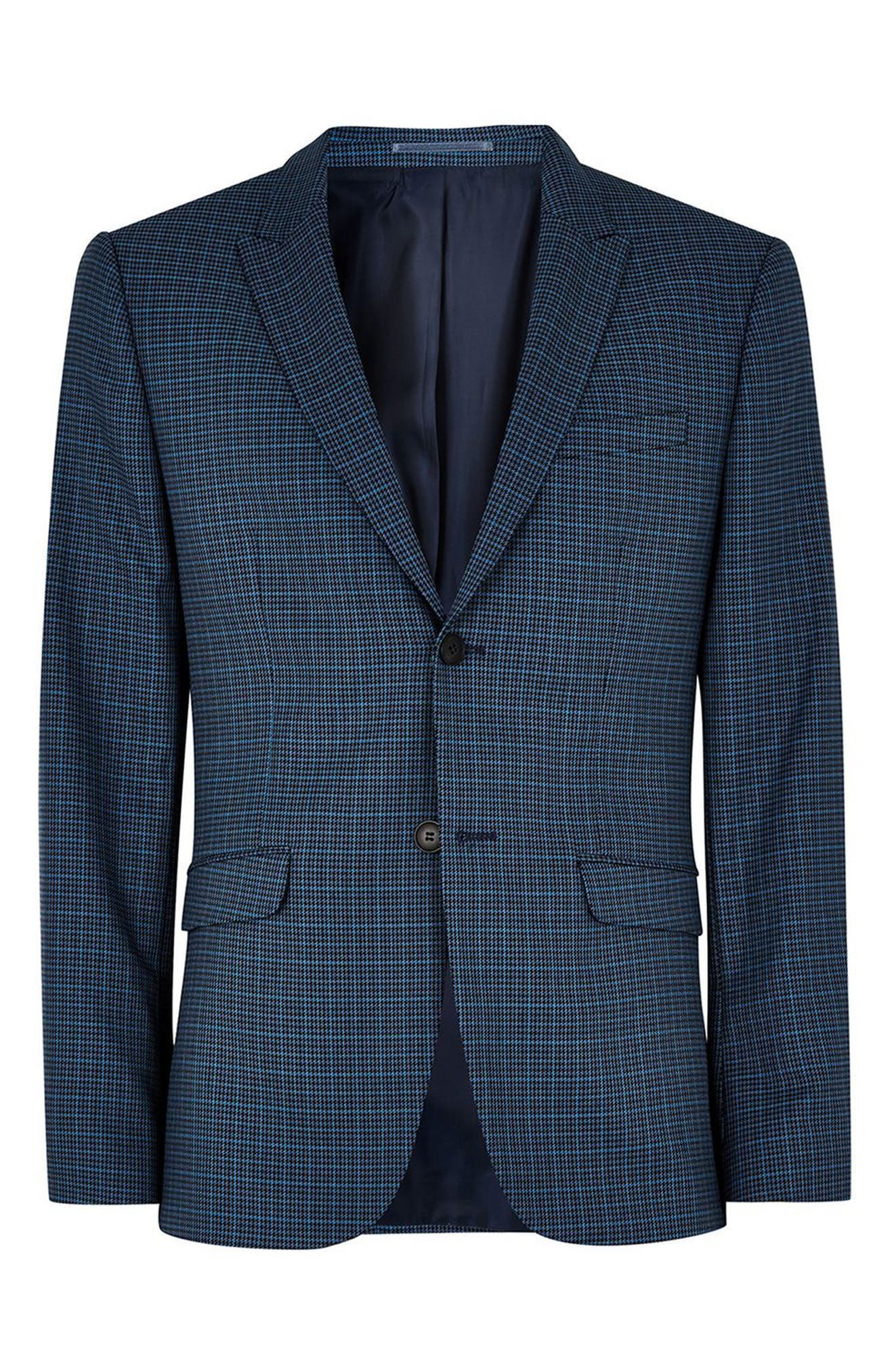 Check Skinny Fit Suit Jacket,                             Alternate thumbnail 3, color,