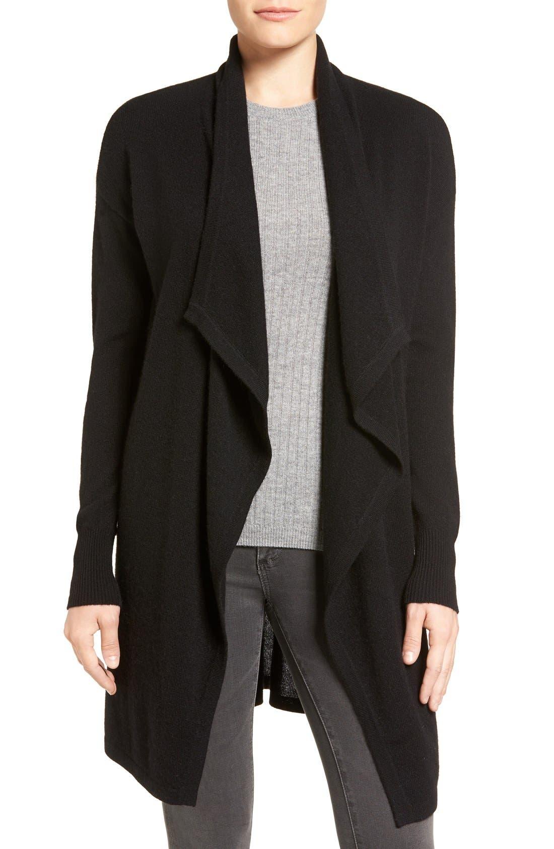 Cashmere Long Drape Front Cardigan,                             Main thumbnail 2, color,