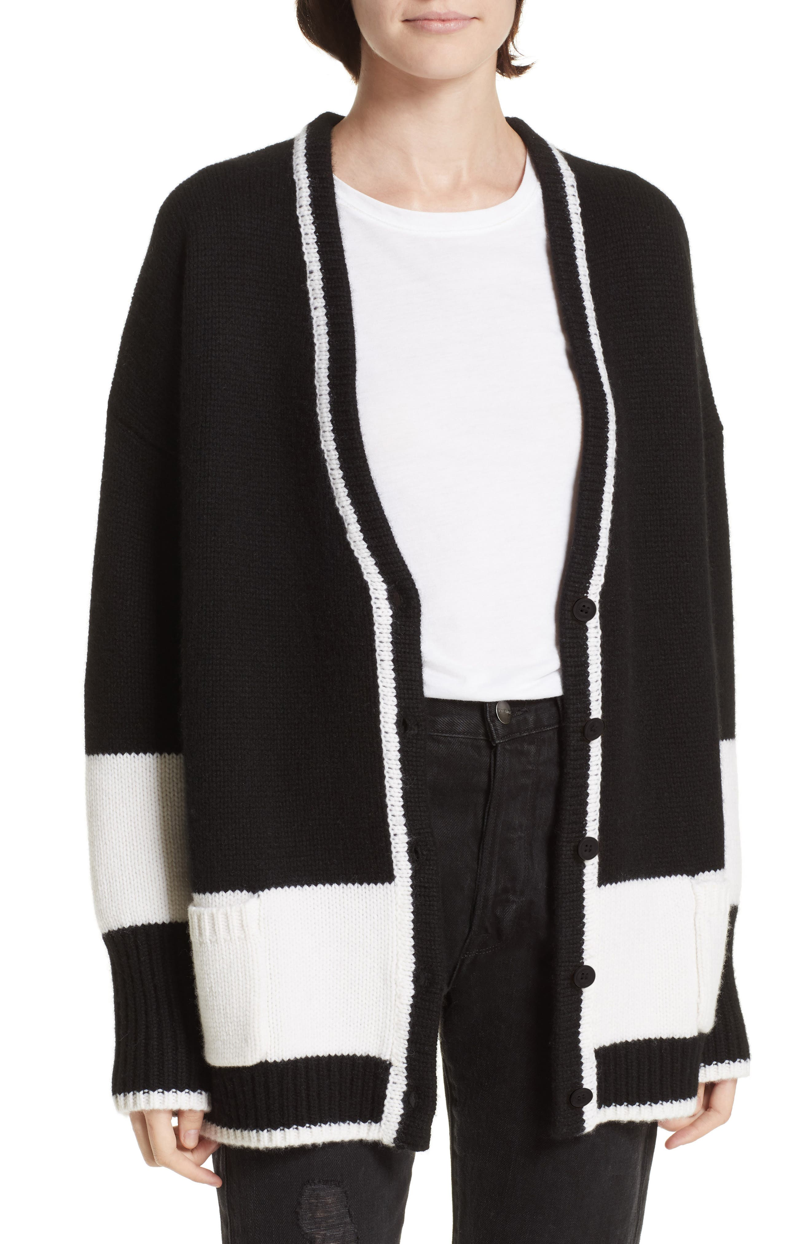LA LIGNE Martha Wool & Cashmere Cardigan in Black/ Cream