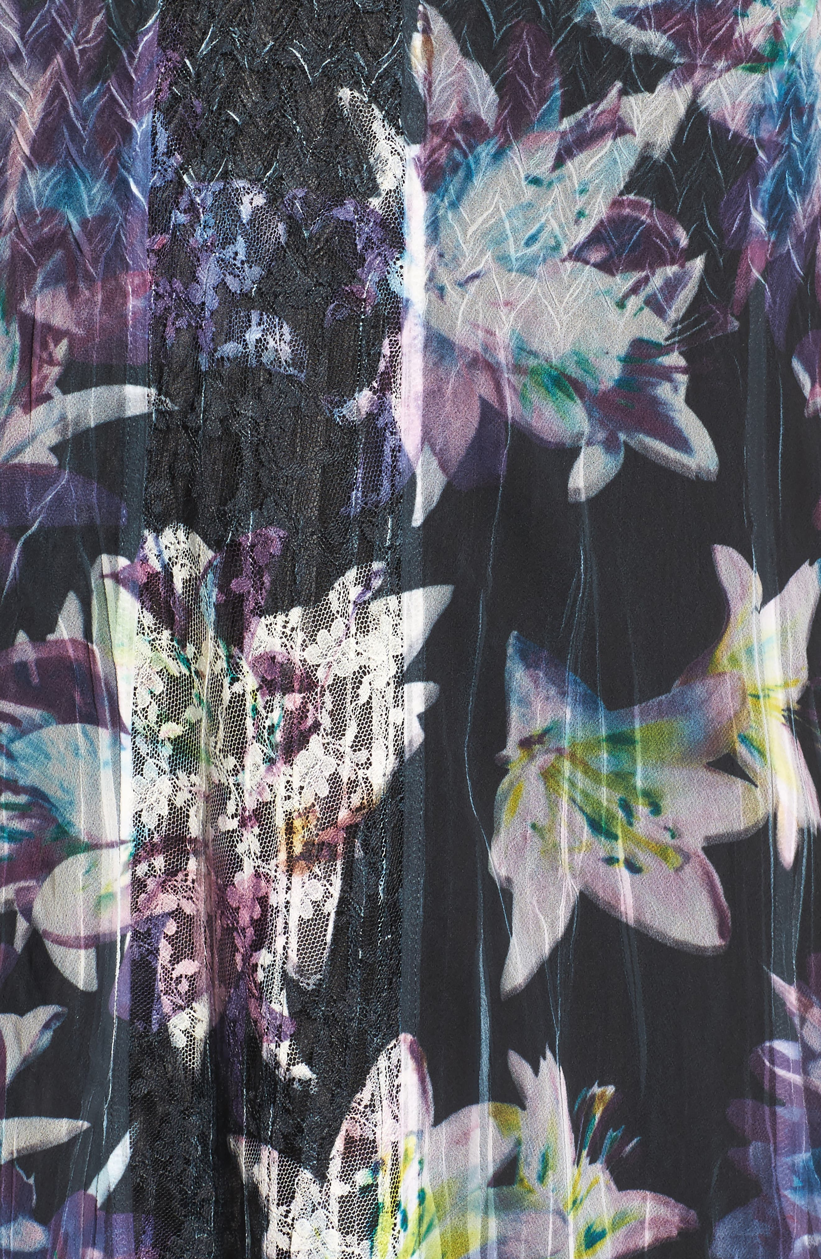 Floral Charmeuse & Chiffon A-Line Dress,                             Alternate thumbnail 5, color,                             409