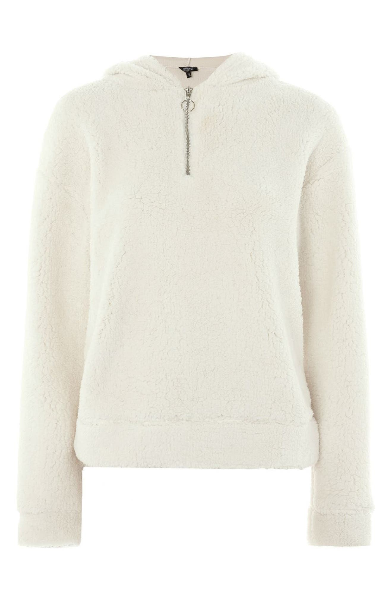 TOPSHOP,                             Fleece Quarter-Zip Hoodie,                             Alternate thumbnail 4, color,                             900
