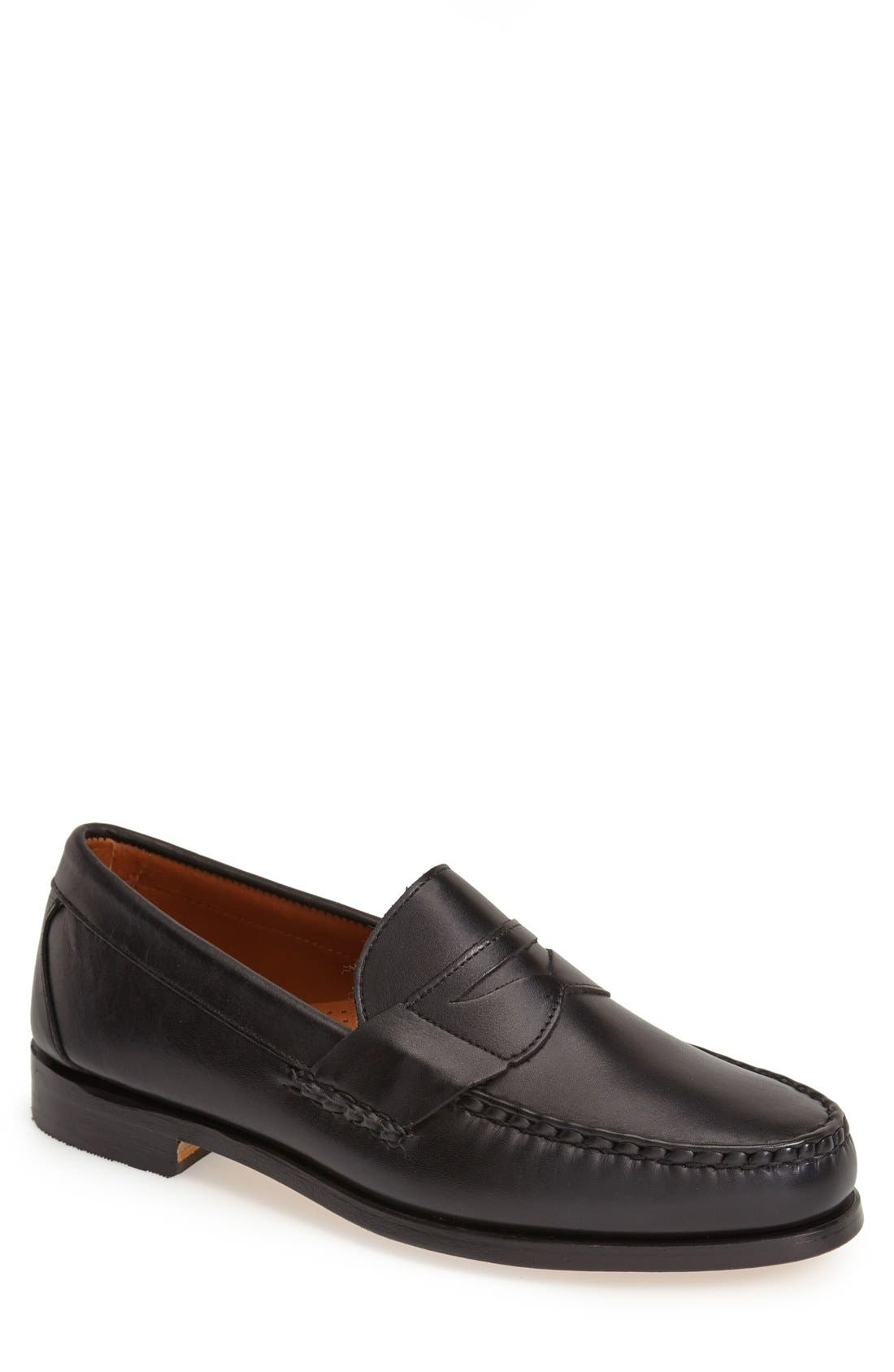 'Cavanaugh' Penny Loafer,                         Main,                         color, BLACK LEATHER