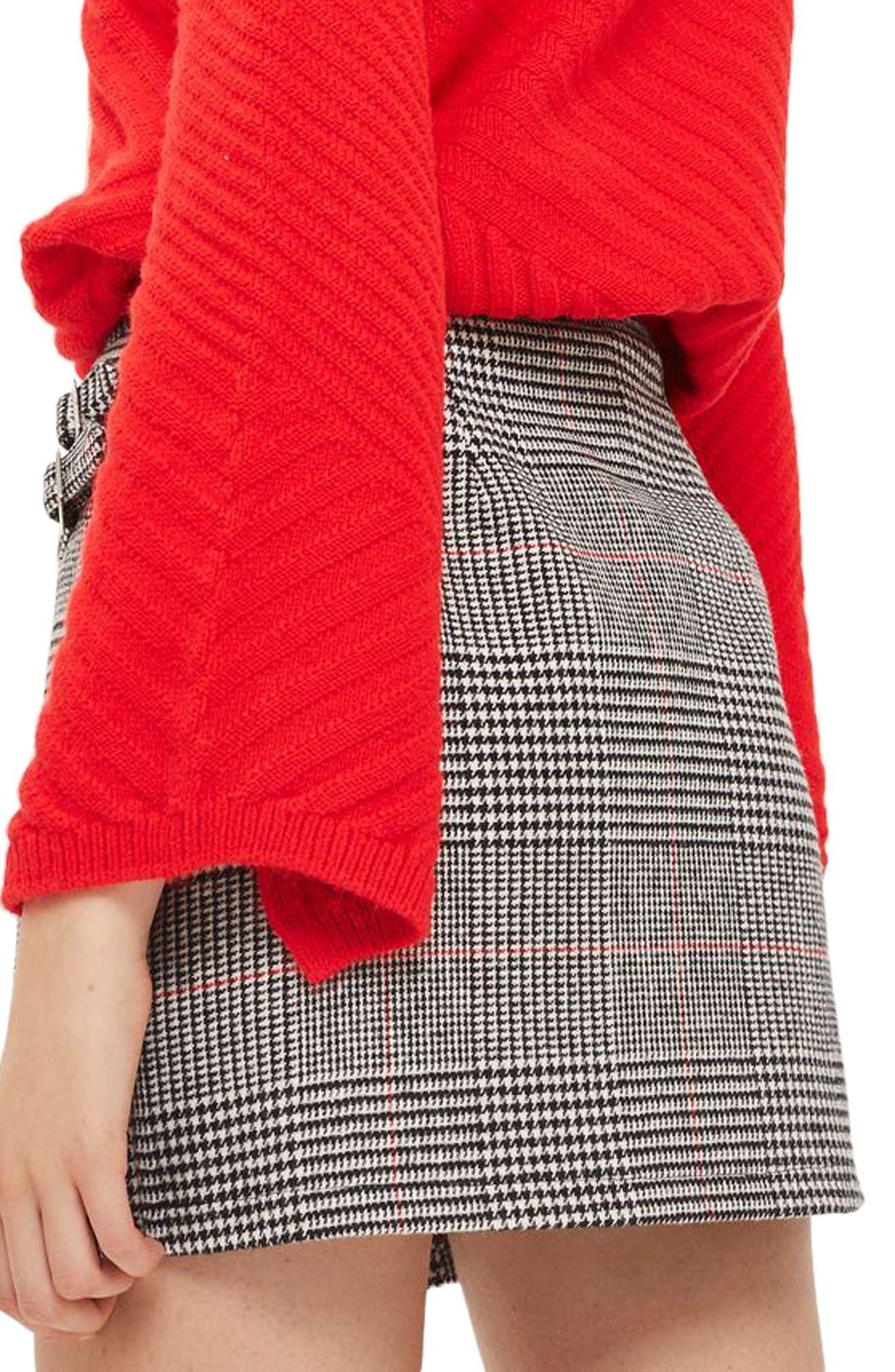 Side Buckle Check Miniskirt,                             Alternate thumbnail 2, color,                             001