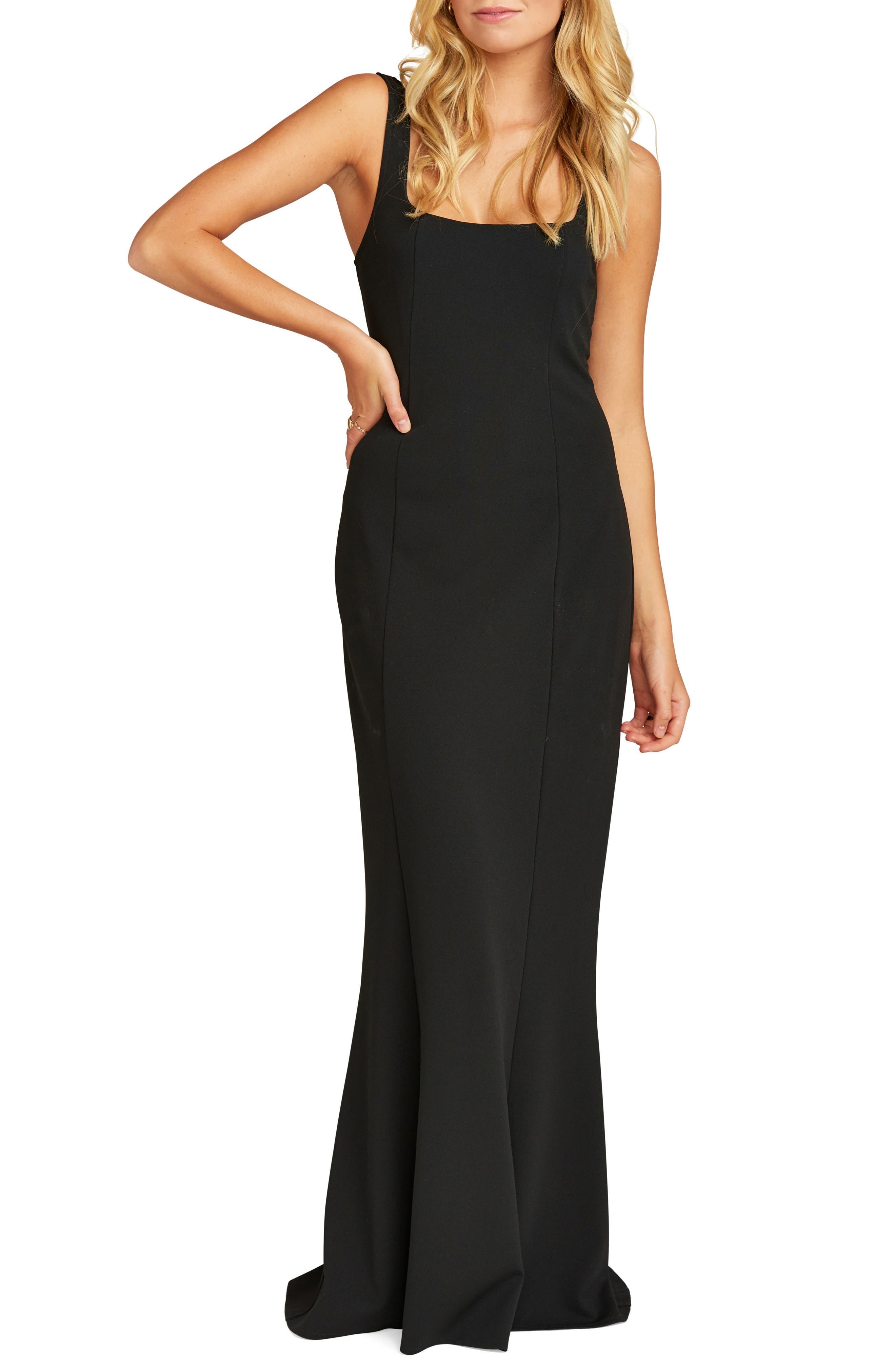 Show Me Your Mumu Belinda Square Neck Stretch Crepe Gown, Black