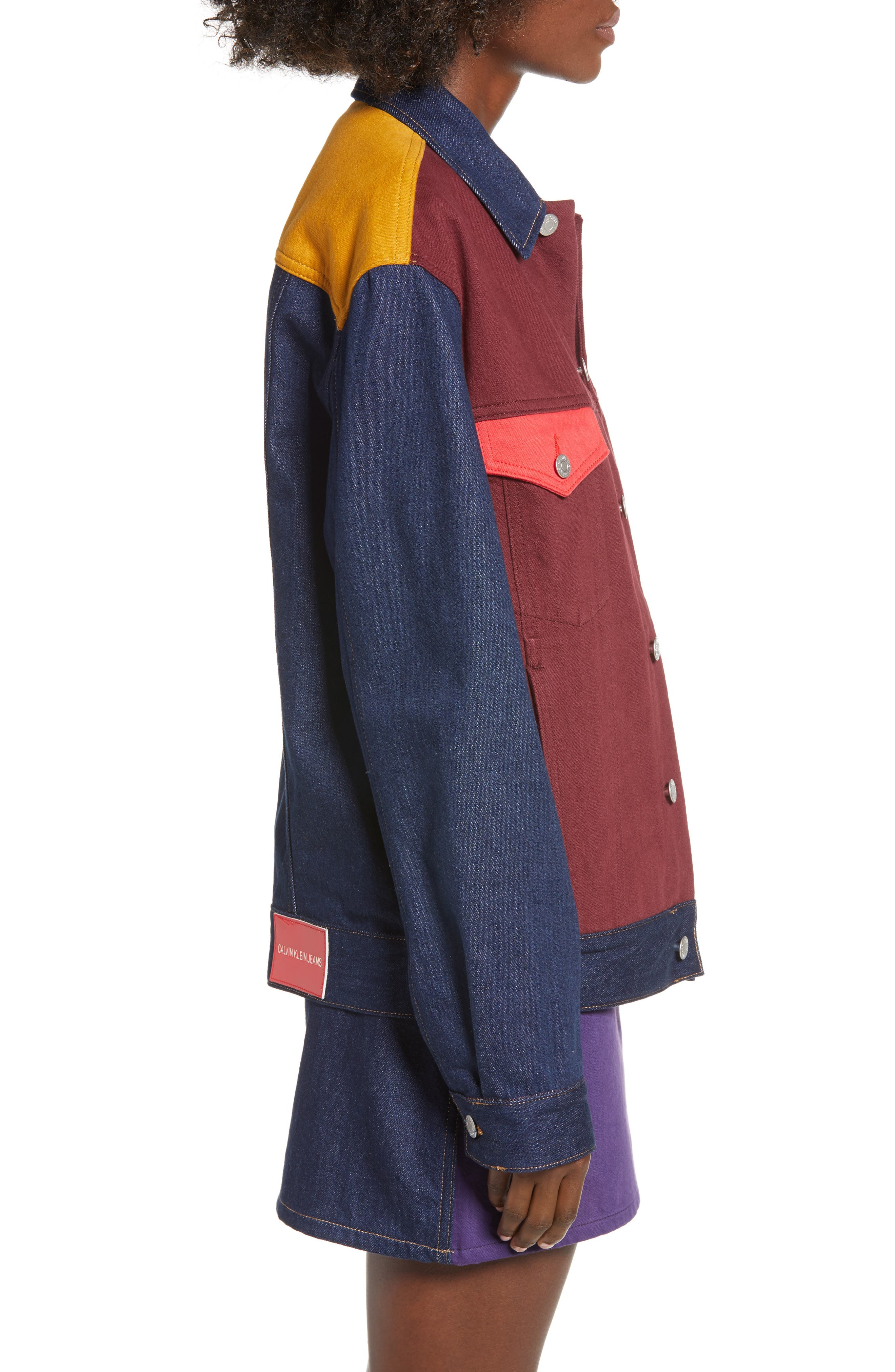 Colorblock Trucker Jacket,                             Alternate thumbnail 3, color,                             UKELELY PATCH