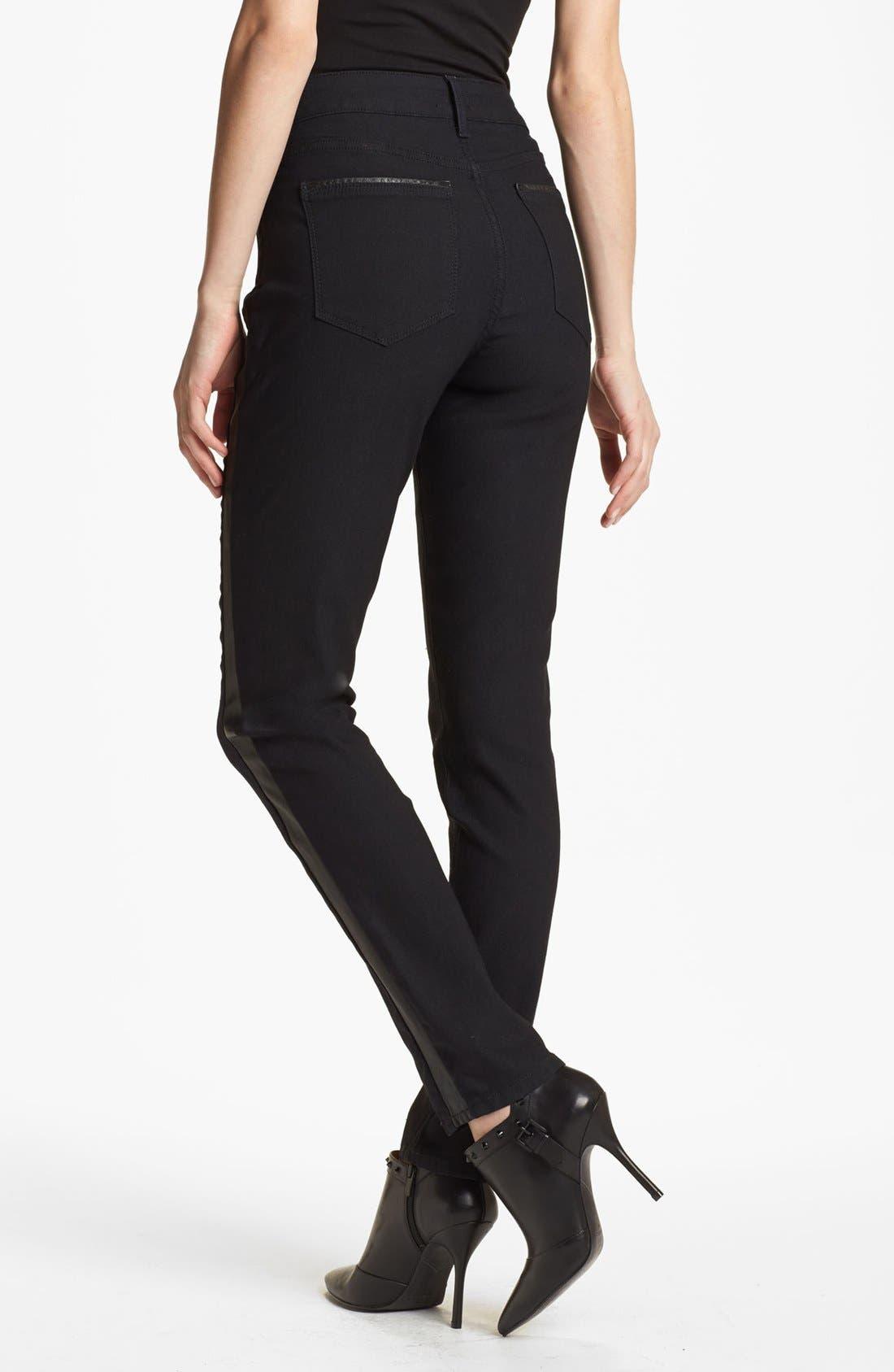 'Megan' Faux Leather Trim Stretch Skinny Jeans,                             Alternate thumbnail 3, color,                             460