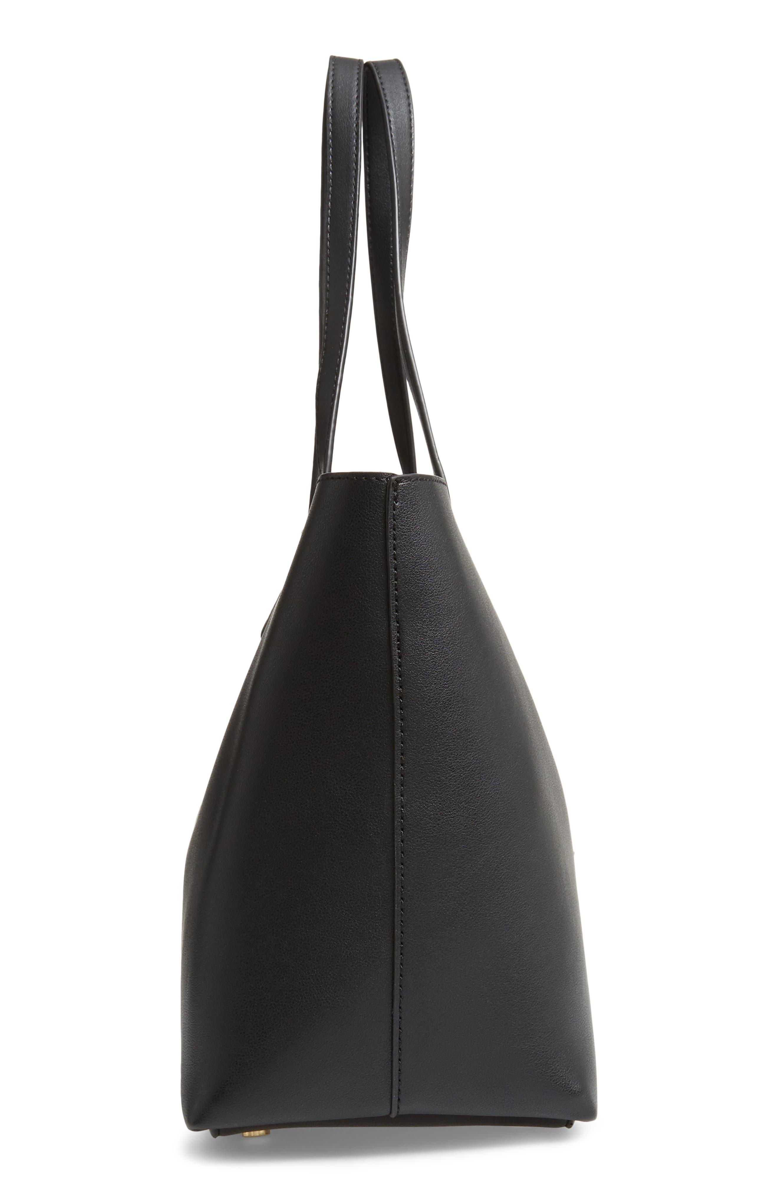 Zeda Faux Leather Tote,                             Alternate thumbnail 5, color,                             BLACK