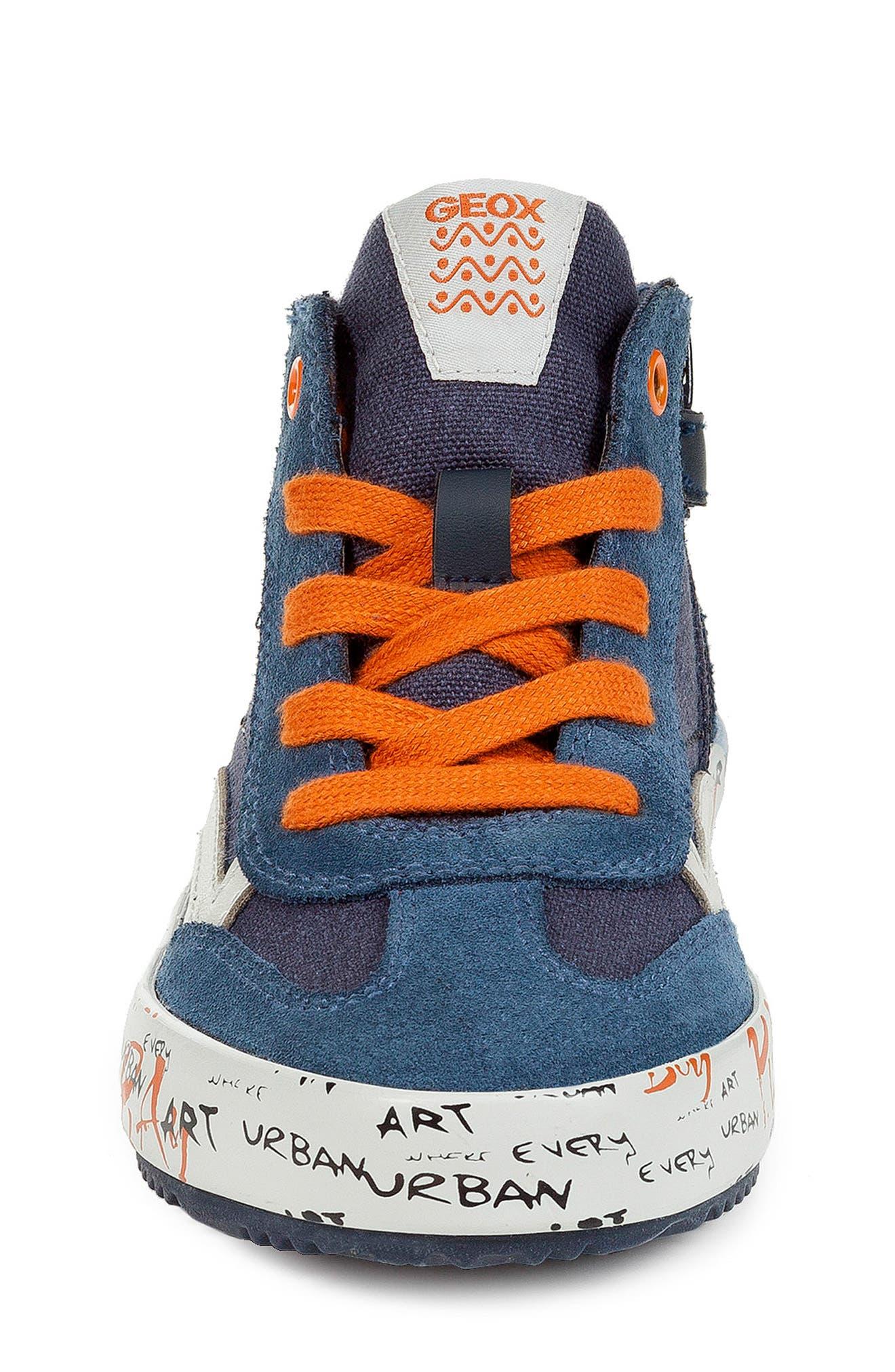 Alonisso 34 High Top Sneaker,                             Alternate thumbnail 4, color,                             NAVY/ DARK ORANGE