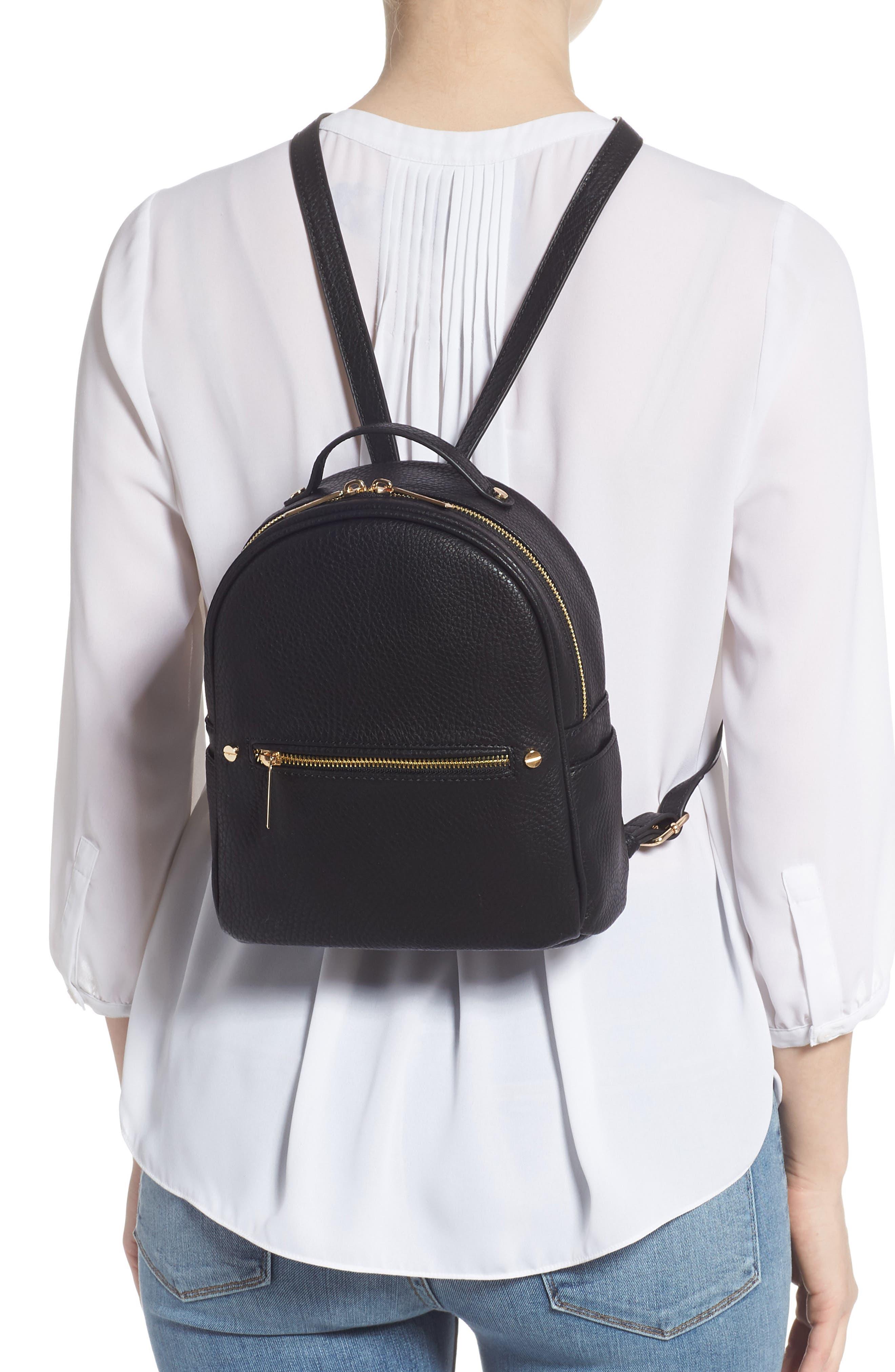 MALI + LILI,                             Hanny Vegan Leather Backpack,                             Alternate thumbnail 2, color,                             BLACK