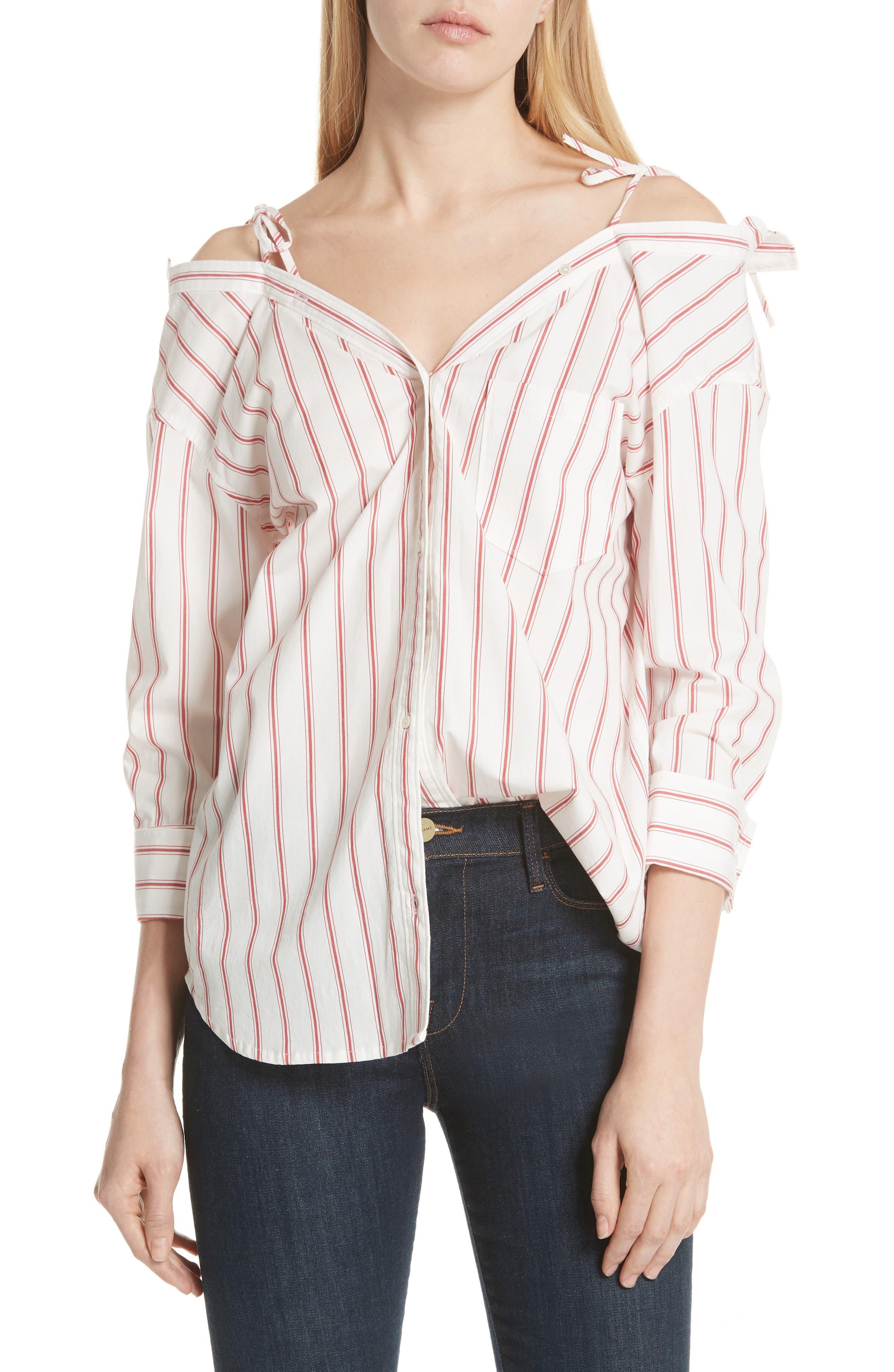 Alvina Tie Front Stripe Shirt,                             Main thumbnail 1, color,                             600