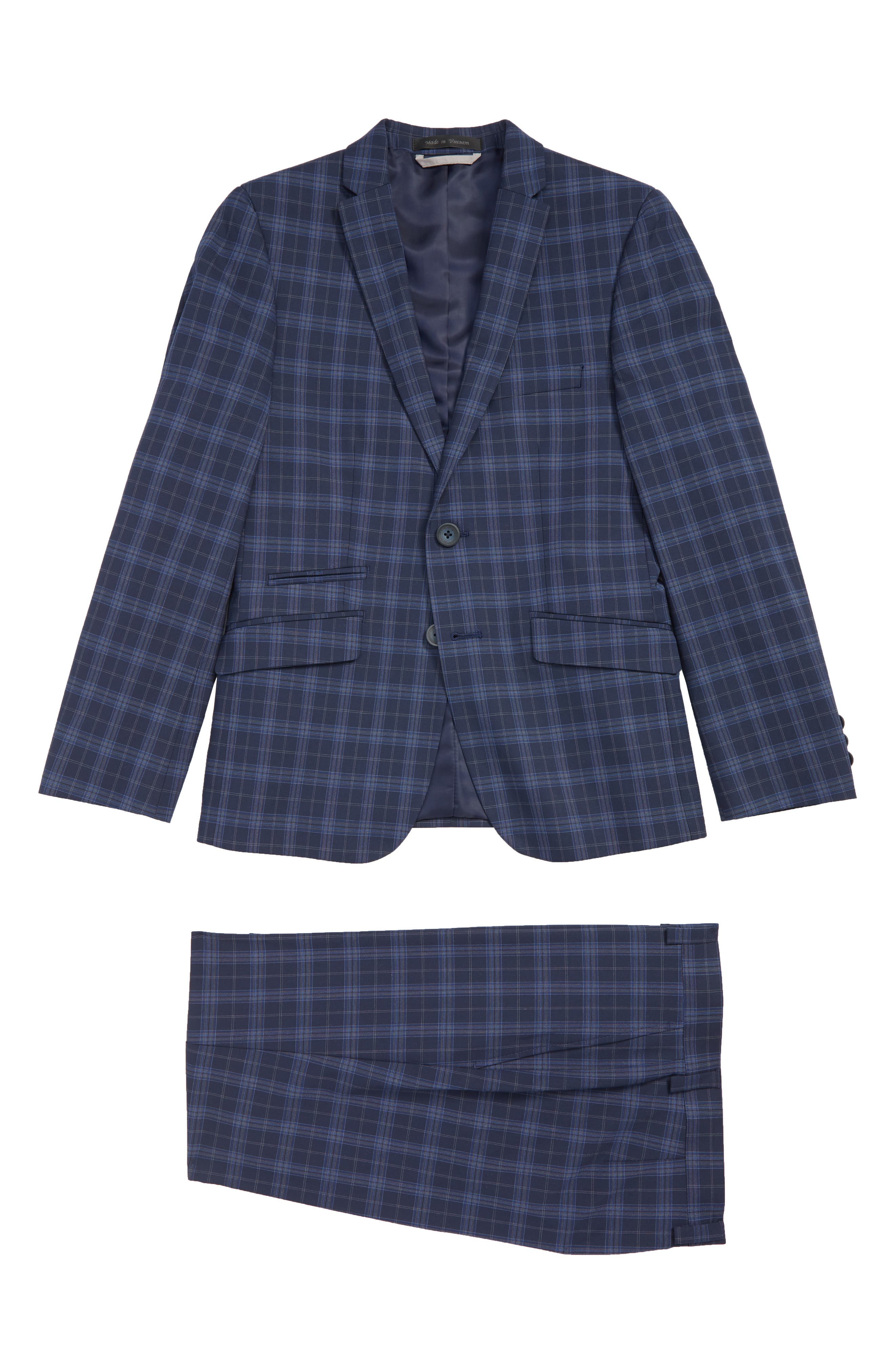Boys Andrew Marc Plaid Nested Suit