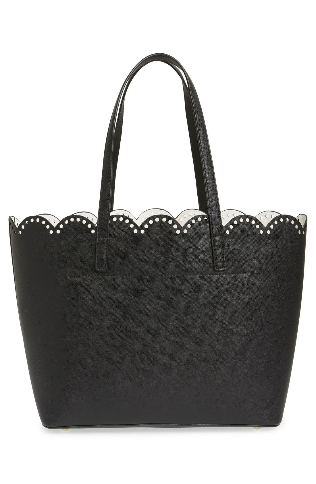 Scalloped Faux Leather Tote,                             Alternate thumbnail 27, color,