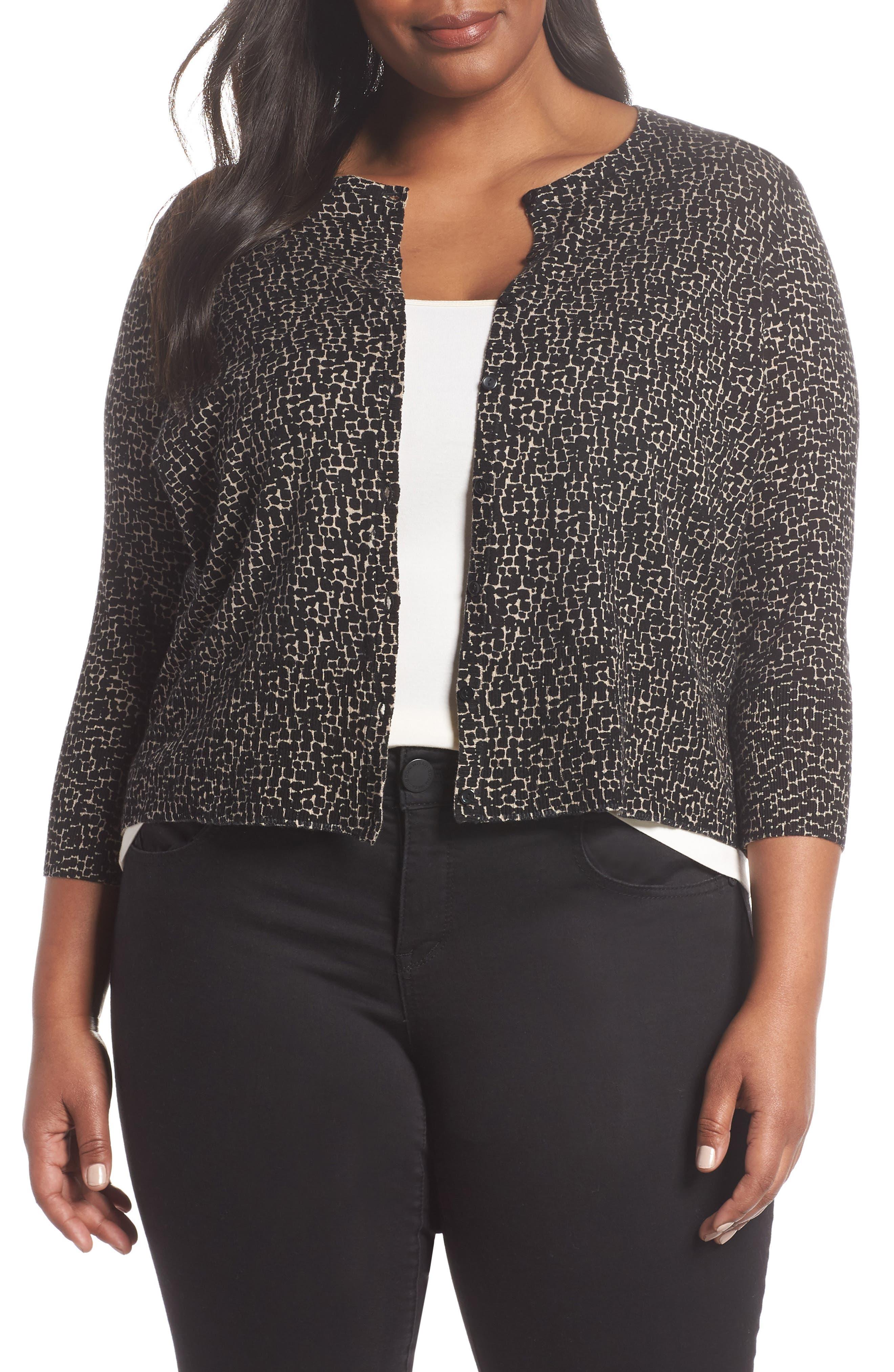 Easy Cropped Cardigan,                         Main,                         color, BLACK-TAN GIA PRINT