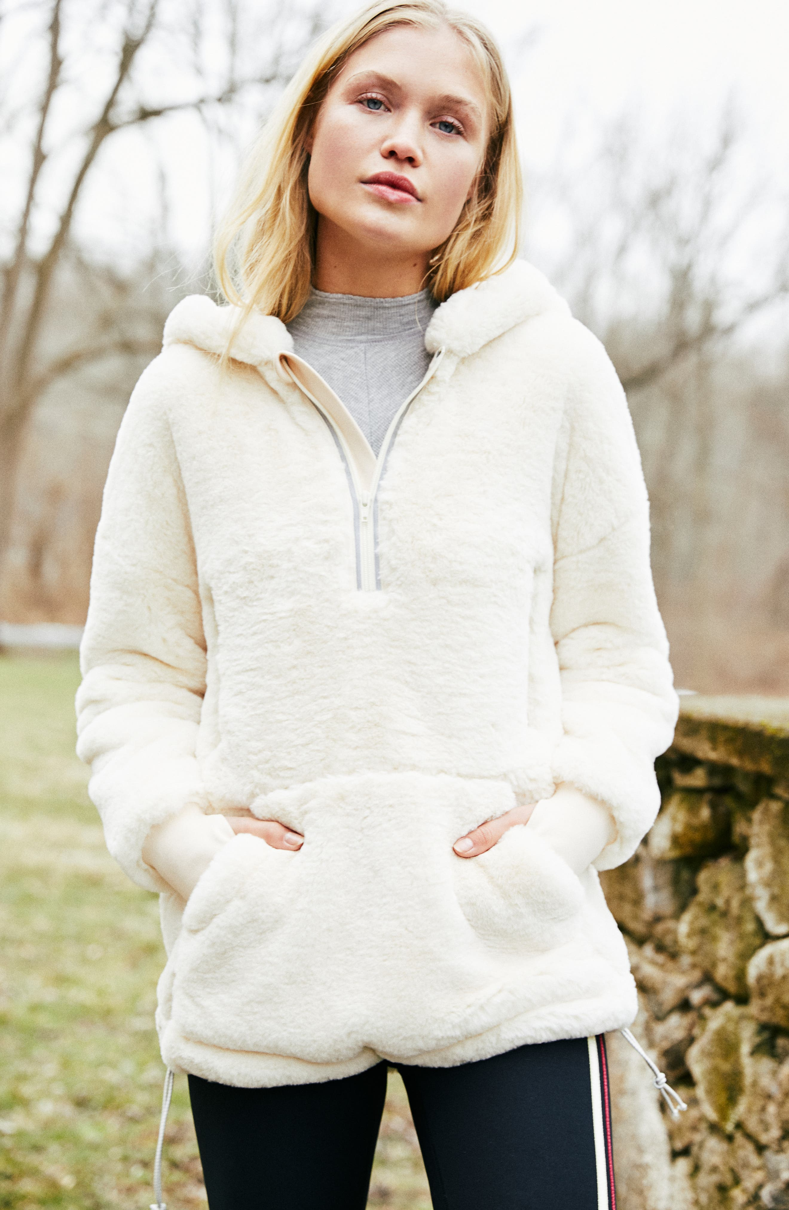 FREE PEOPLE MOVEMENT Free People Fp Movement Off The Record Soft Fleece Hoodie in Beige