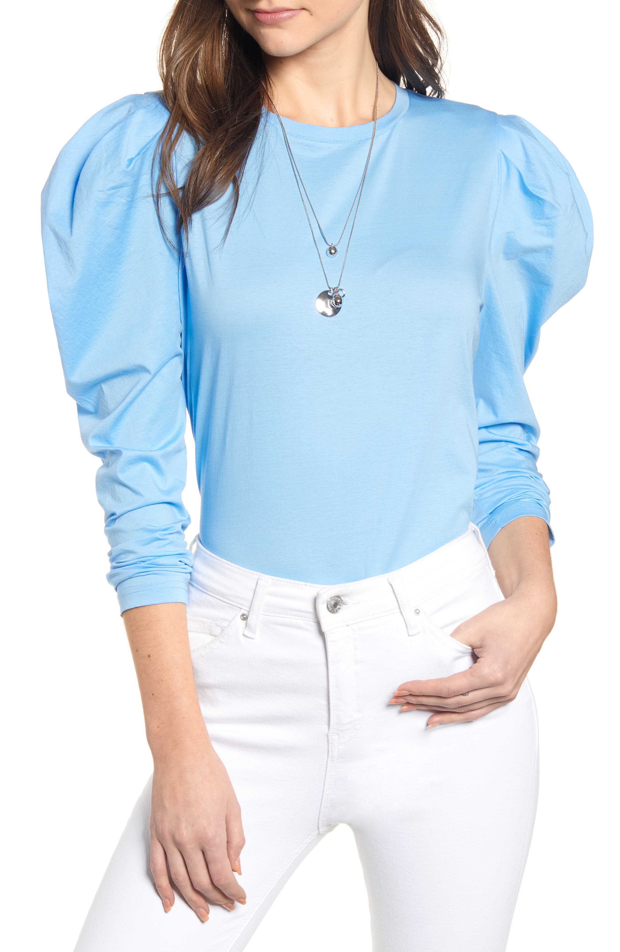 SOMETHING NAVY Strong Shoulder Top, Main, color, 450